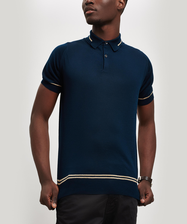 7f0d47a776cd John Smedley Beecroft Knit Polo-shirt in Blue for Men - Lyst