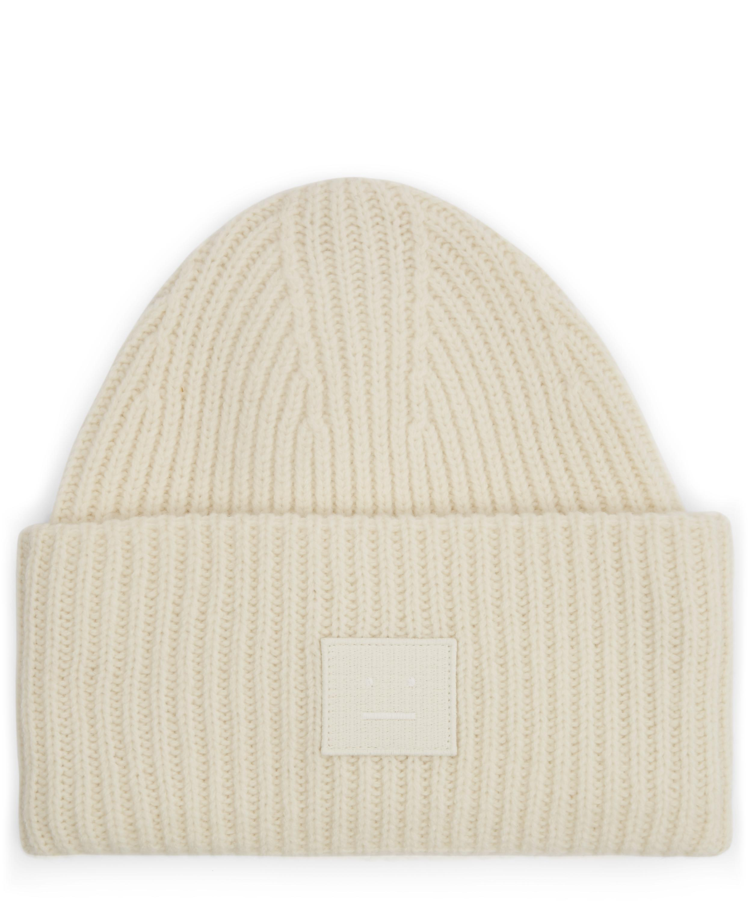 9fb568c84b7ad7 Lyst - Acne Studios Pansy Face Wool Beanie Hat in White