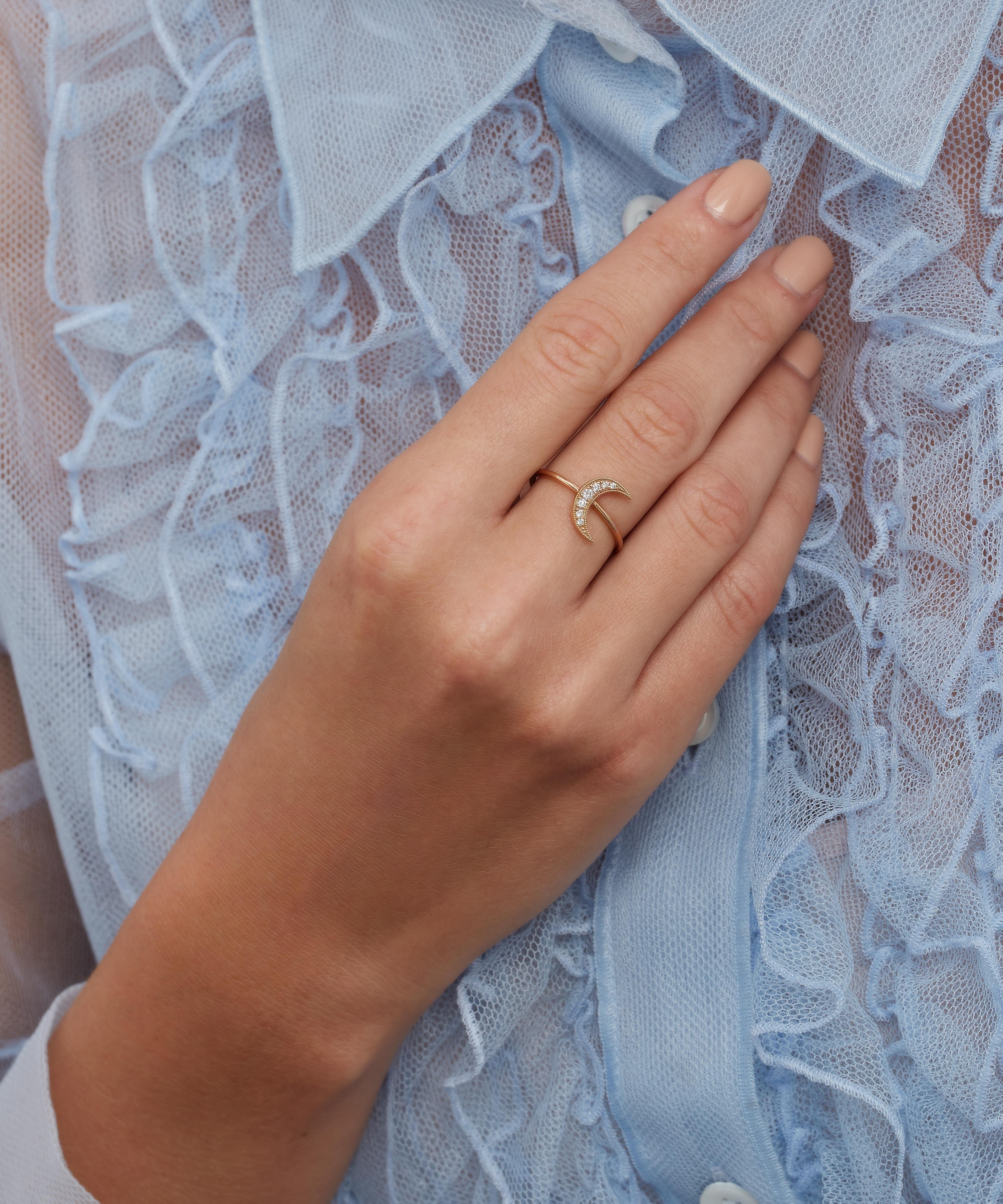 Andrea Fohrman Rose Gold Mini Crescent Moon White Diamond Pavé Ring