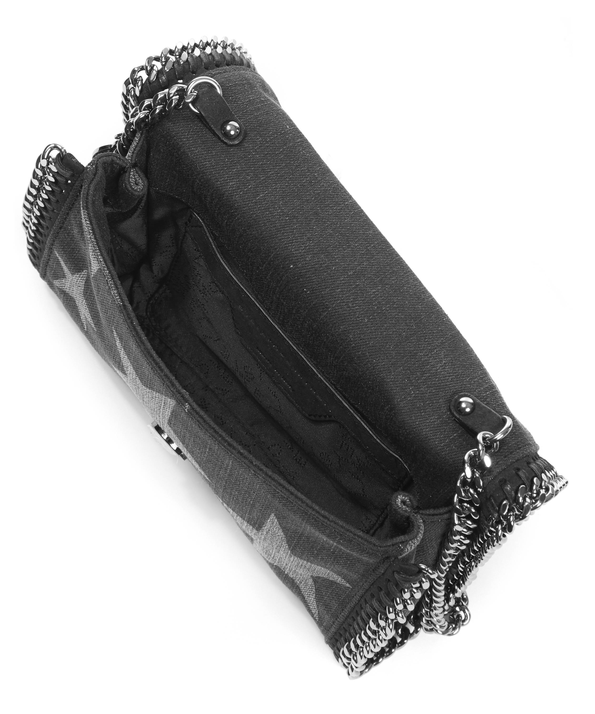 Stella McCartney Star Printed Denim Falabella Crossbody Bag in Black