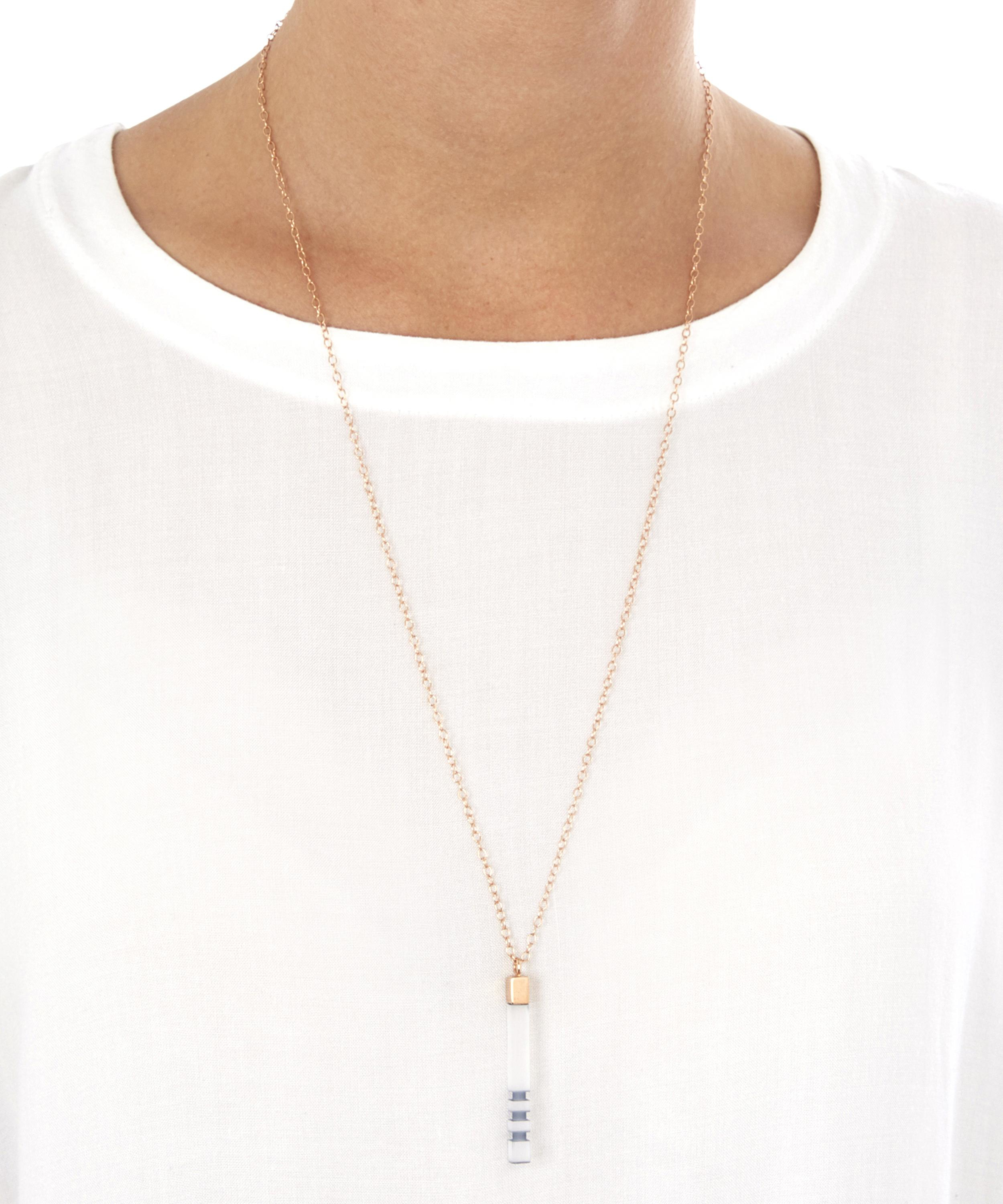 Lily Kamper Mini Frosted Resin Round Column Pendant Necklace in Mid Grey (Grey)