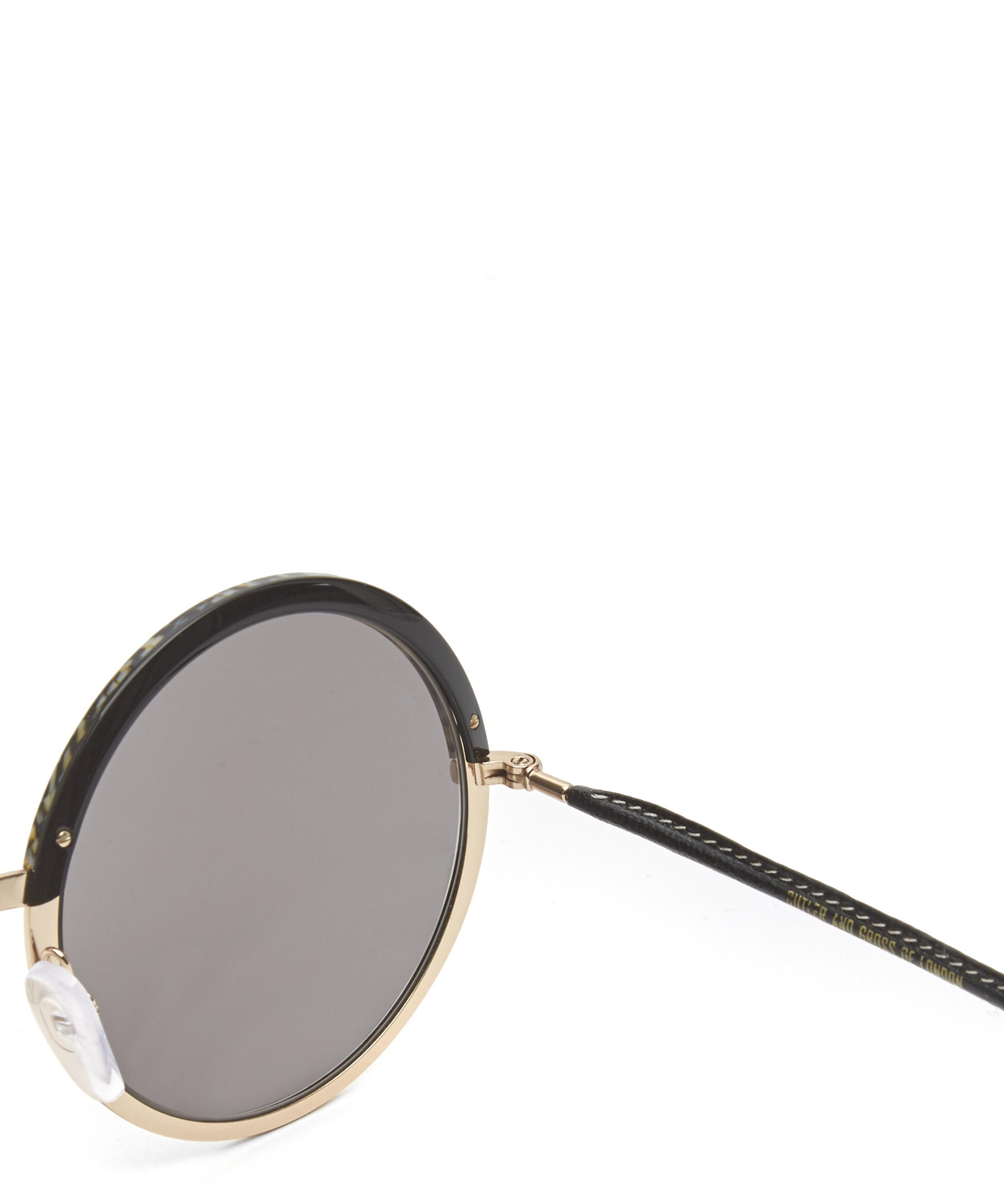 Cutler & Gross Round Leather Arm Sunglasses in Black