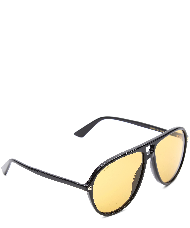649f07323e Lyst - Gucci Oversized Aviator Sunglasses in Black