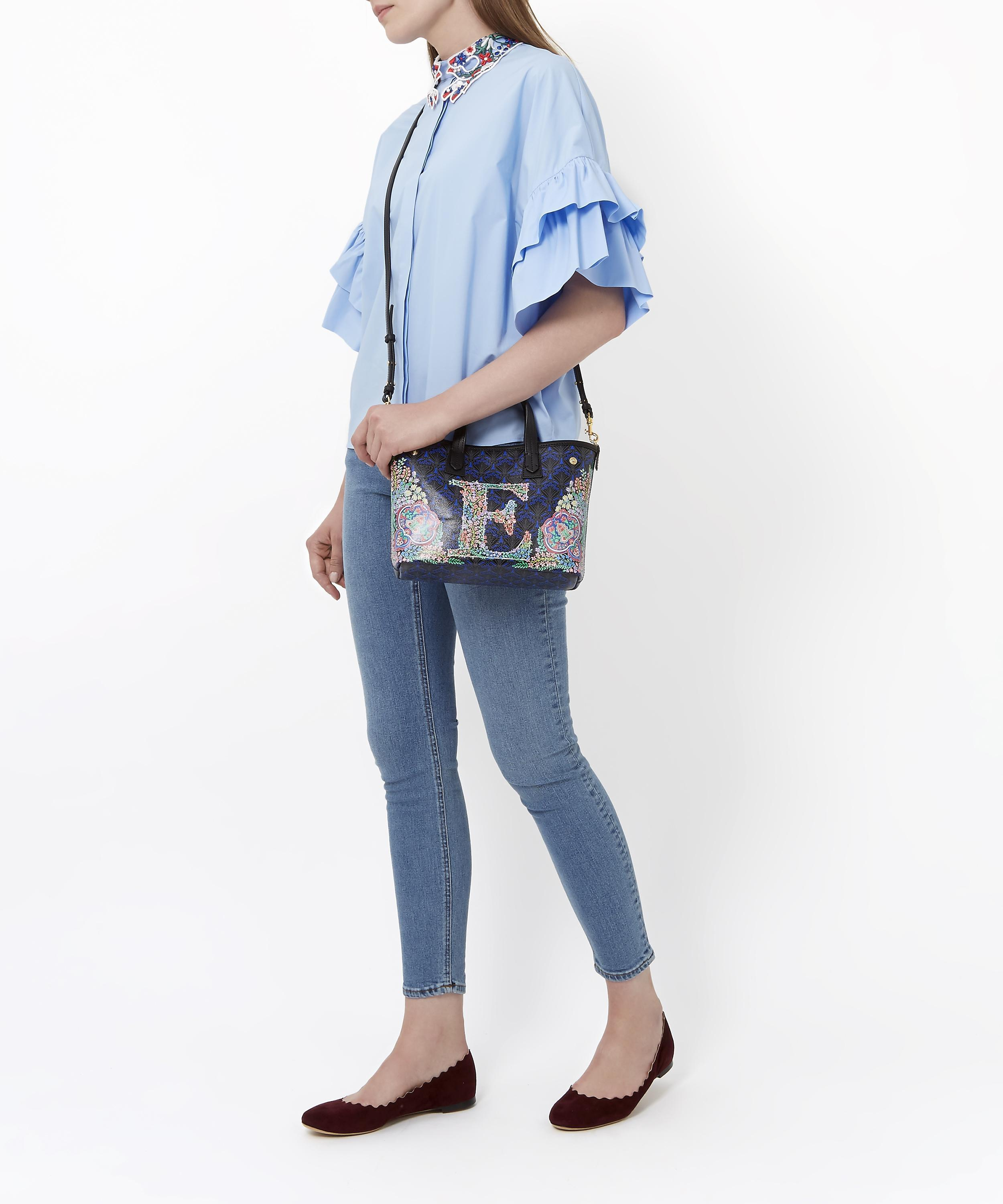 Liberty Canvas Mini Marlborough Tote Bag In U Print in Blue