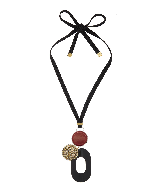 Marni Three Drop Pendant Self-tie Necklace in Black