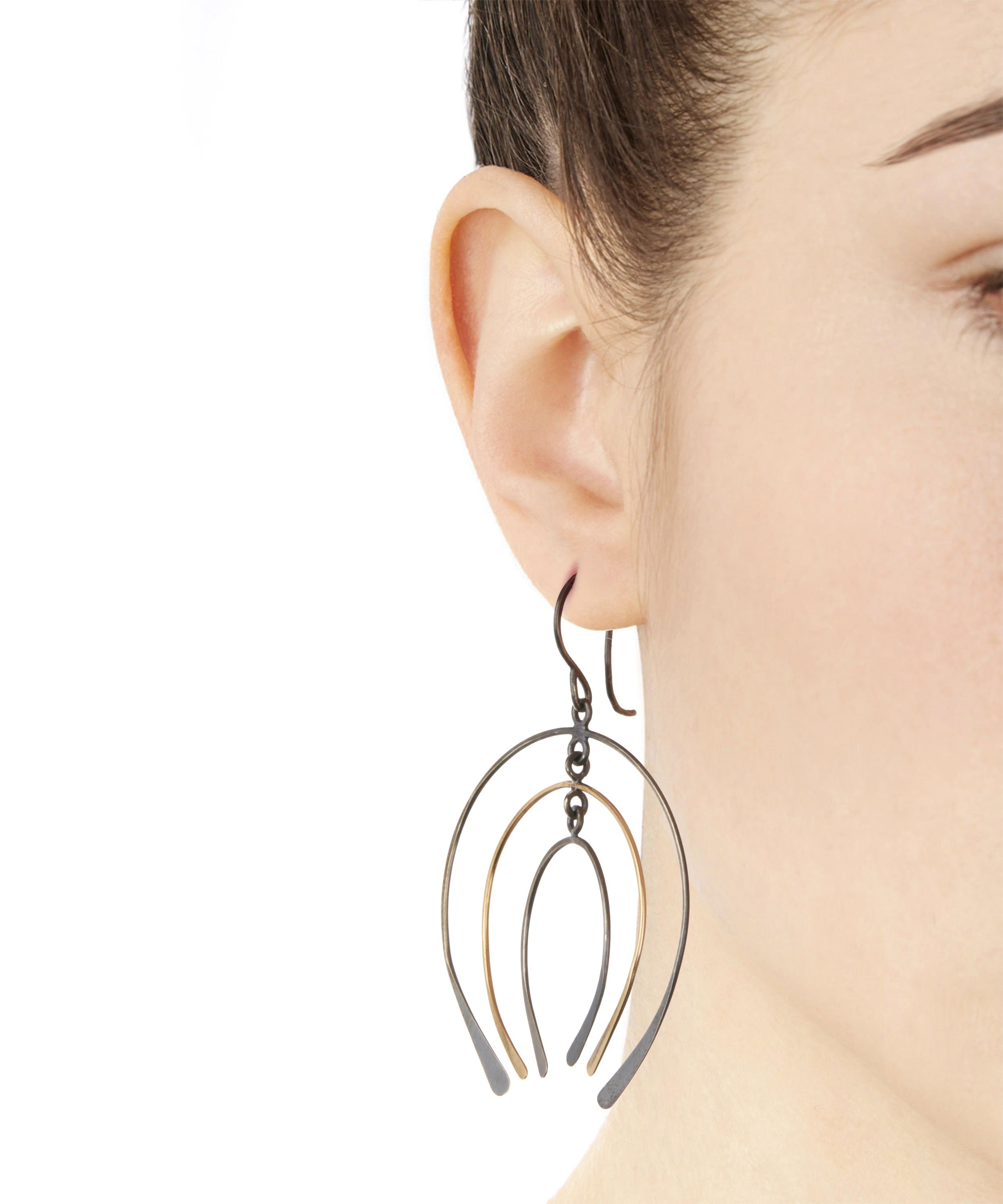Melissa Joy Manning Gold And Silver Graduated Horseshoe Drop Earring in Blue