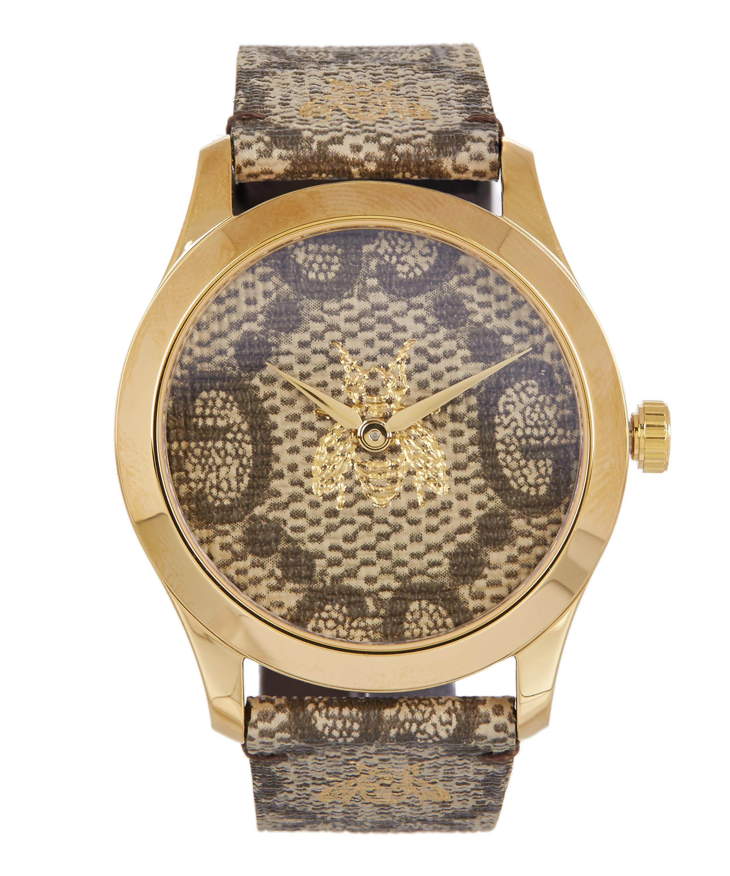 45a3a64ad01 Gucci G-timeless Leather Logo Bee Motif Watch in Brown for Men - Lyst