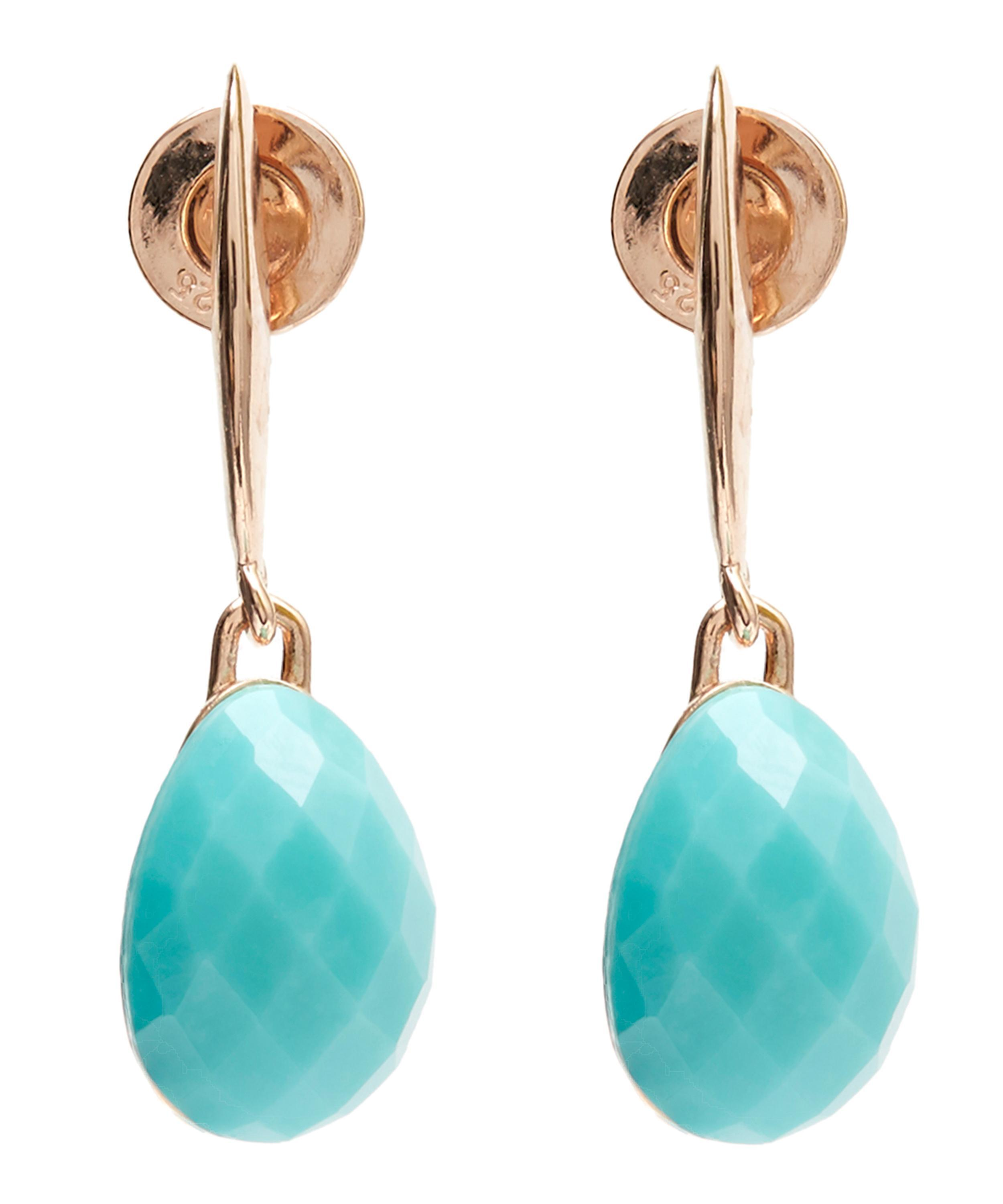 a24f42efb4fc2 Monica Vinader Blue Rose Gold Vermeil Nura Turquoise Small Teardrop Earrings