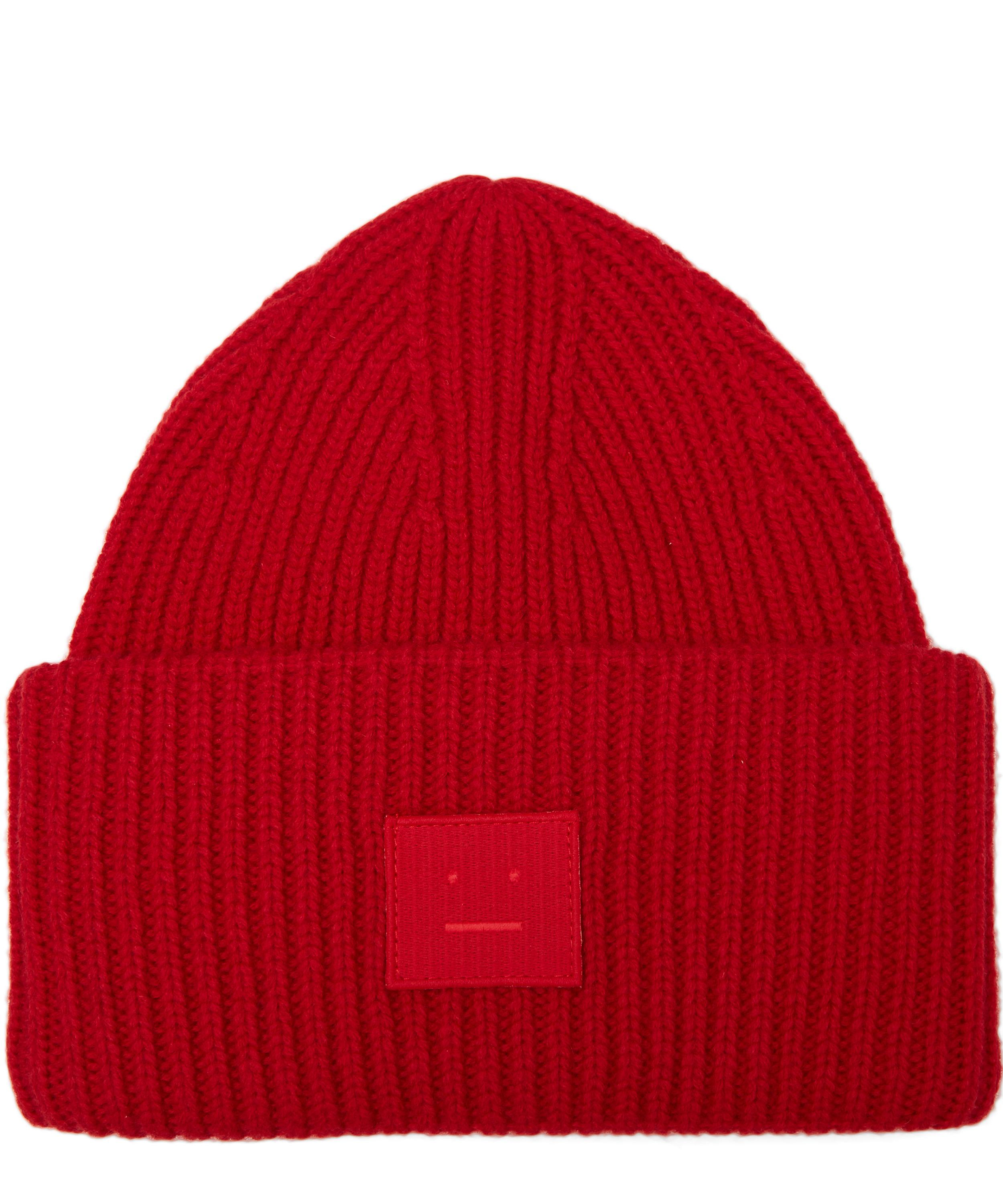 a1fedae8f4a Lyst - Acne Studios Pansy Face Wool Beanie Hat in Red