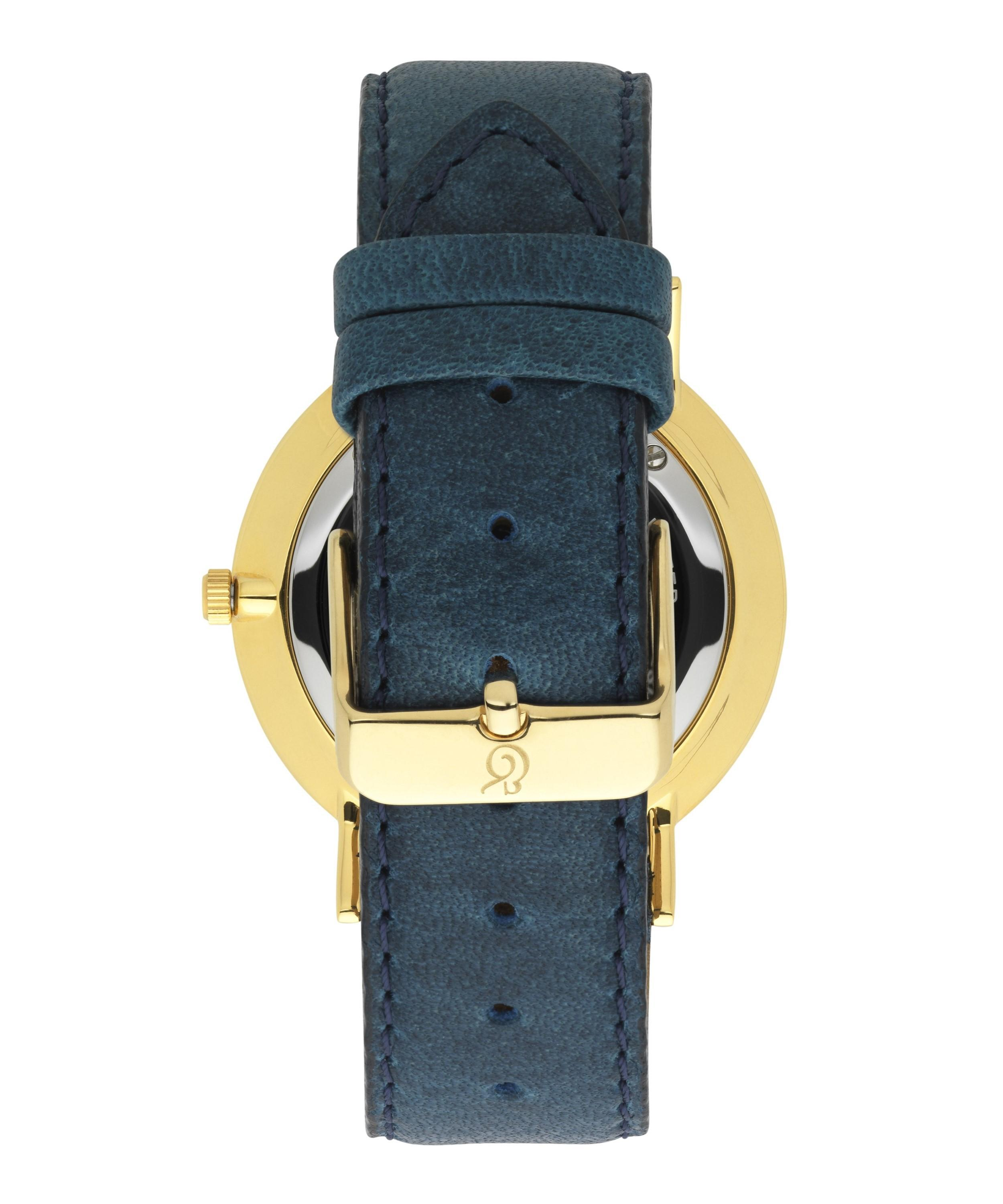 e490db3bcab40 Larsson & Jennings Gold-plated Lader Cyan Leather Strap Watch in ...