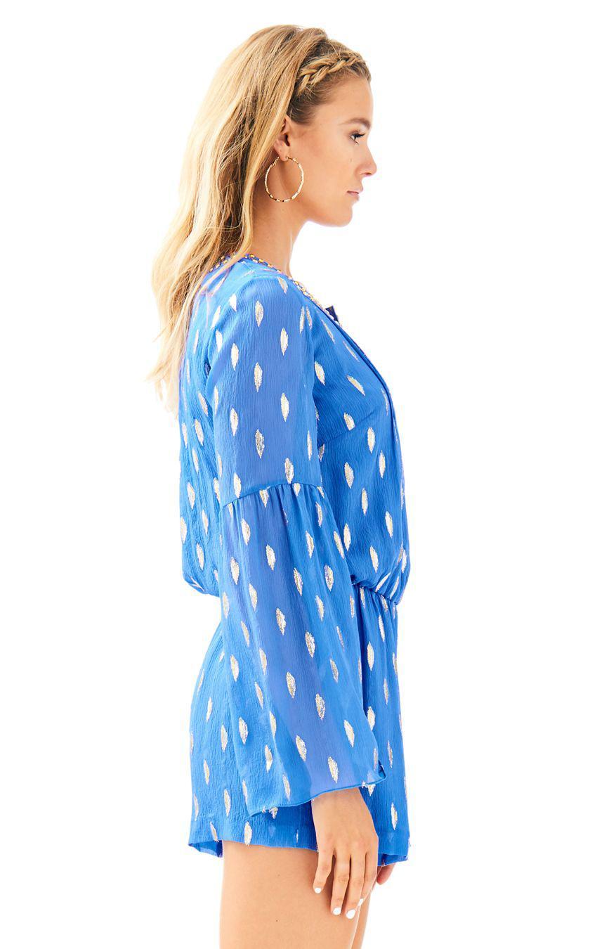 f270f92d6a4d Lyst - Lilly Pulitzer Ariele Silk Romper in Blue