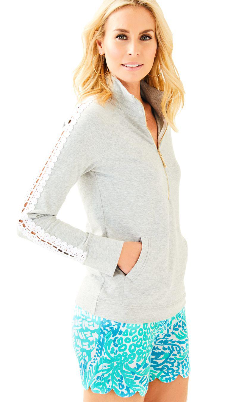 230635004f0 Lyst - Lilly Pulitzer Skipper Solid Popover - Lace Sleeve in Gray