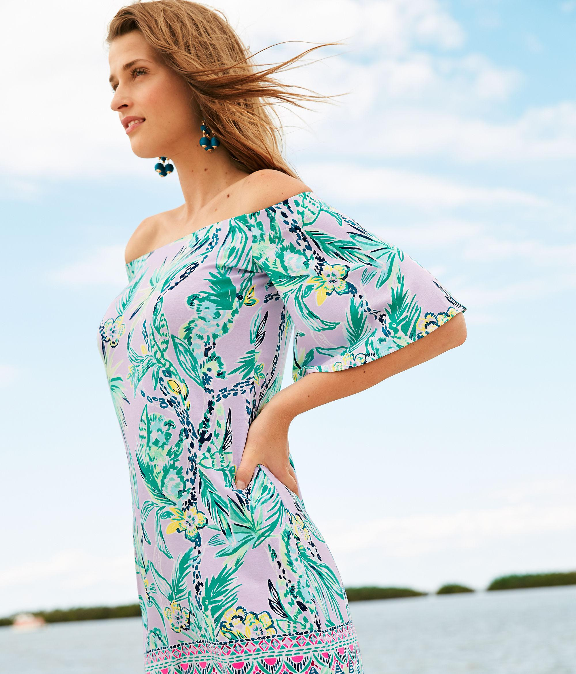 ef65bcf6971 Lilly Pulitzer Fawcett Off The Shoulder Dress in Blue - Lyst
