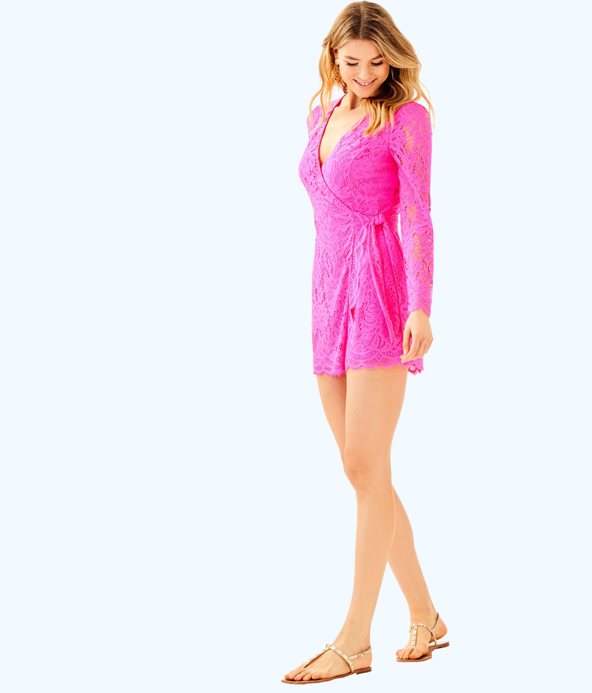 8cc703679c1fe1 Lilly Pulitzer Tiki Wrap Romper in Pink - Lyst