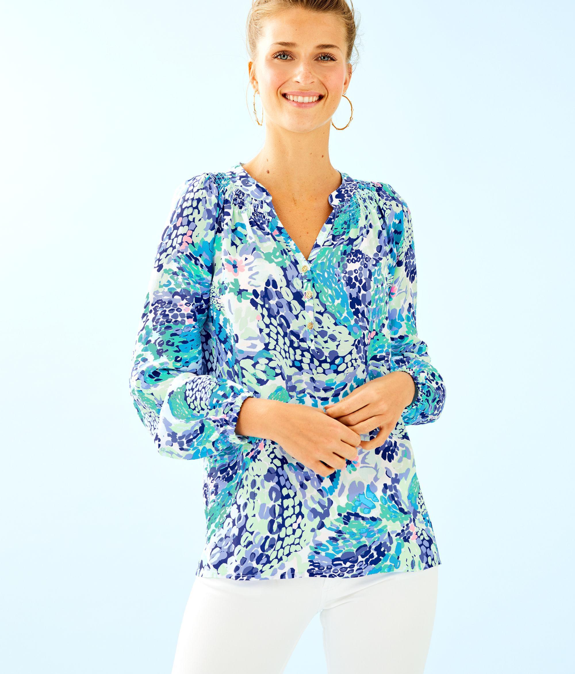 27cb317893860 Lyst - Lilly Pulitzer Elsa Silk Top in Blue