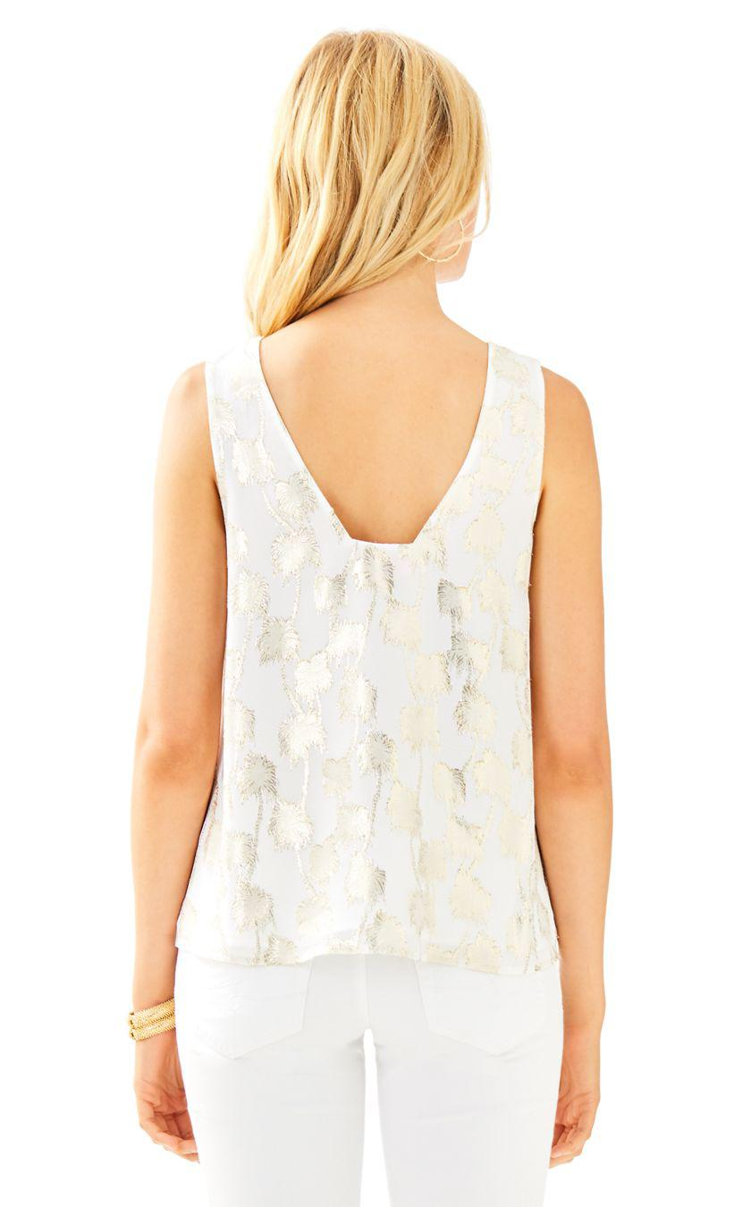 289abae4ca7b6 Lyst - Lilly Pulitzer Owen Silk Clip Top in White