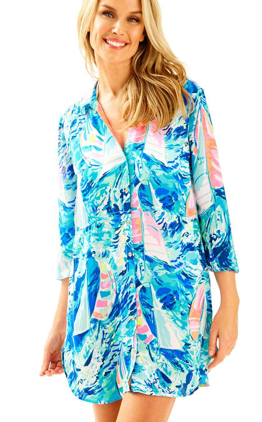 974b31b0398f0 Lilly Pulitzer Emerald Beach Cover-up Tunic in Blue - Lyst