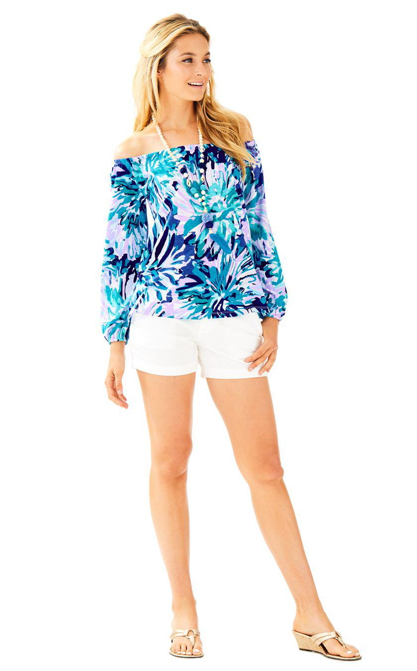baa29504234ca Lyst - Lilly Pulitzer Enna Off The Shoulder Knit Top in Blue