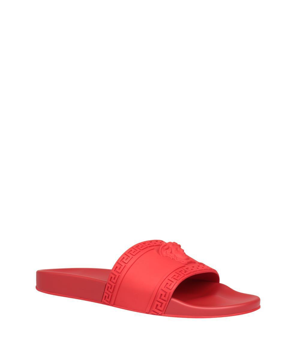 10fb30379689f Lyst - Versace Medusa Pool Slides in Red for Men