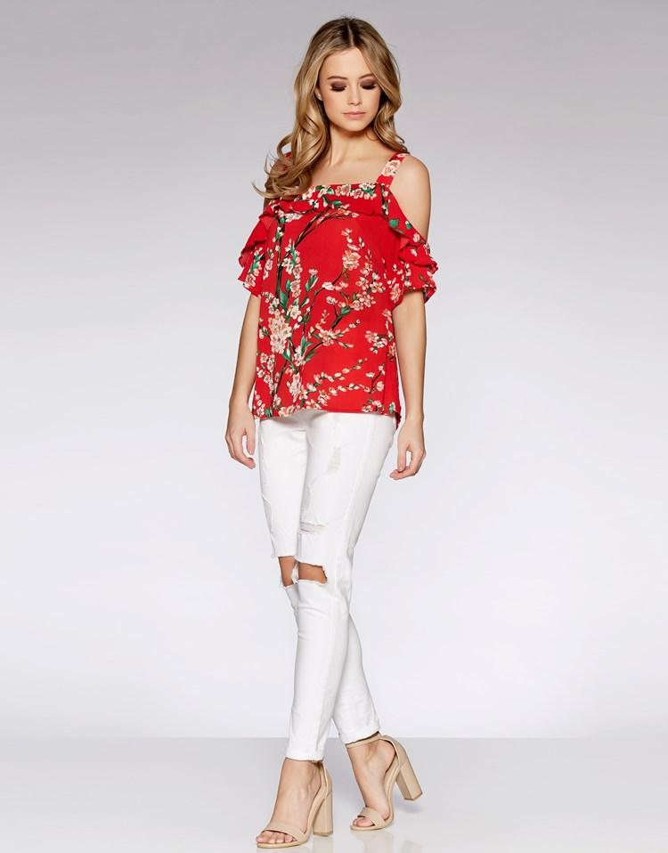 Quiz Floral Print Strappy Cold Shoulder Top In Red Lyst