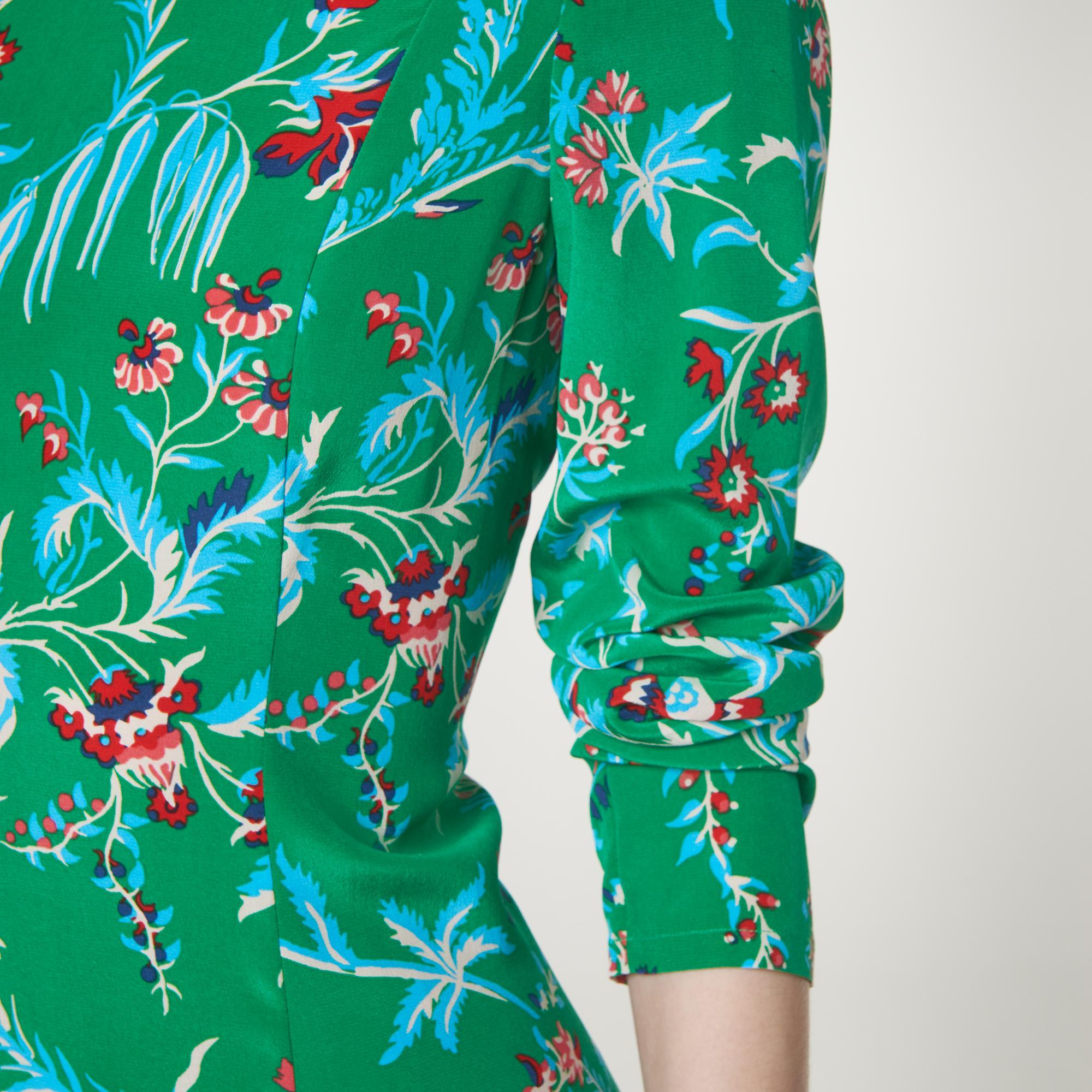 73a966216ecb L.K.Bennett Leanie Wildflower Print Green Silk Midi Dress in Green ...