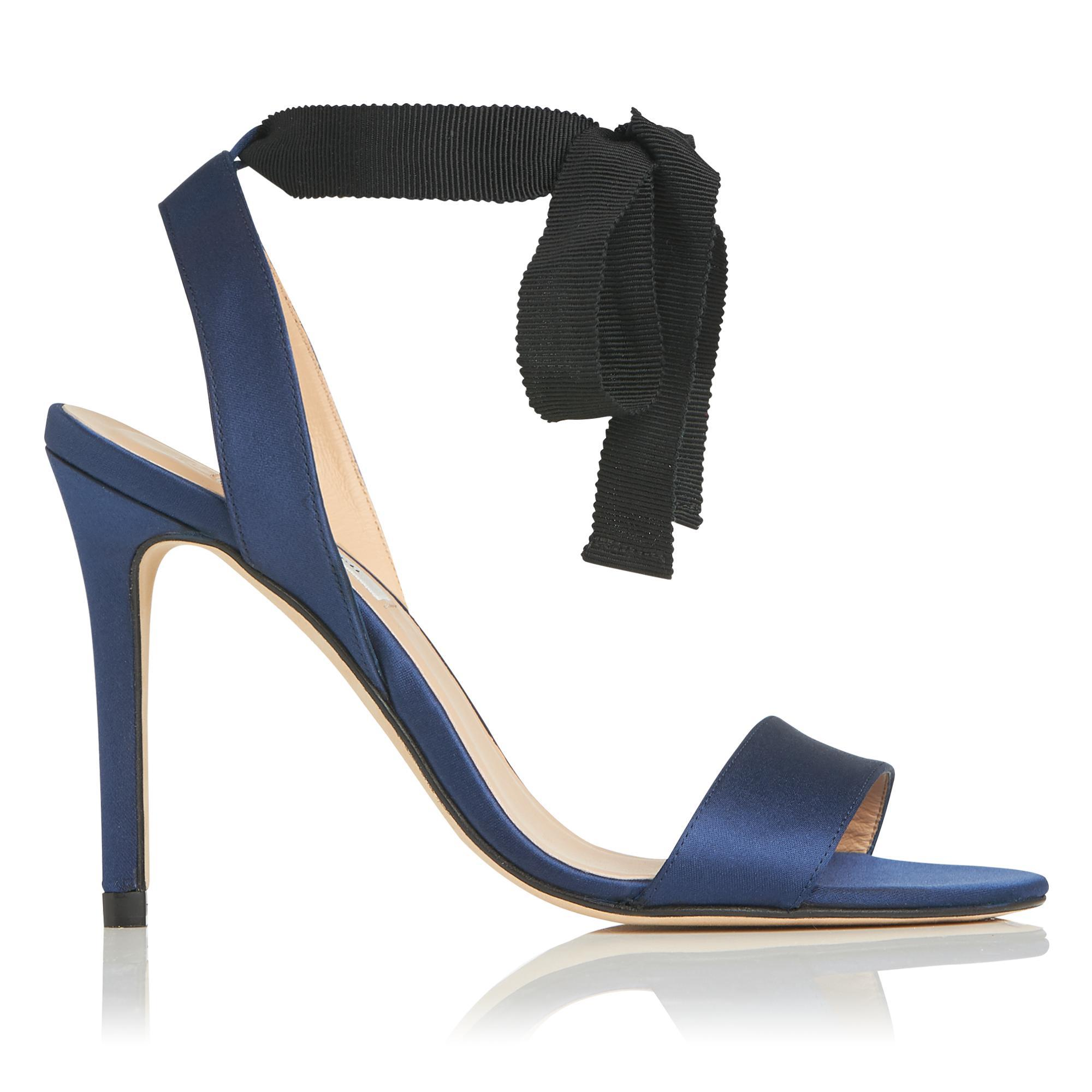 abafe2831189 L.K.Bennett Helia Navy Black Satin Sandals in Blue - Lyst