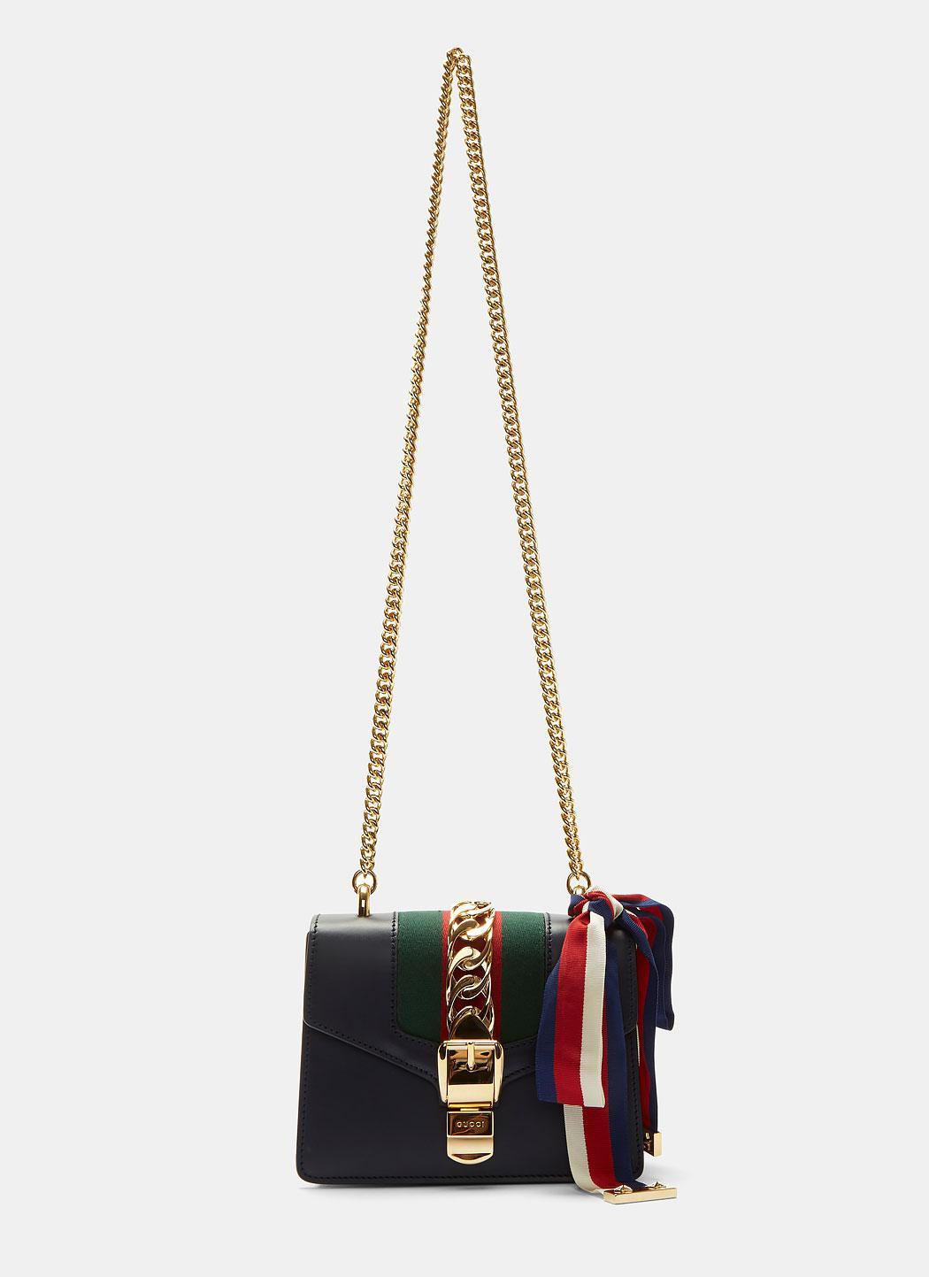 26b0866396f Lyst - Gucci Sylvie Chain Mini Shoulder Bag In Navy in Blue