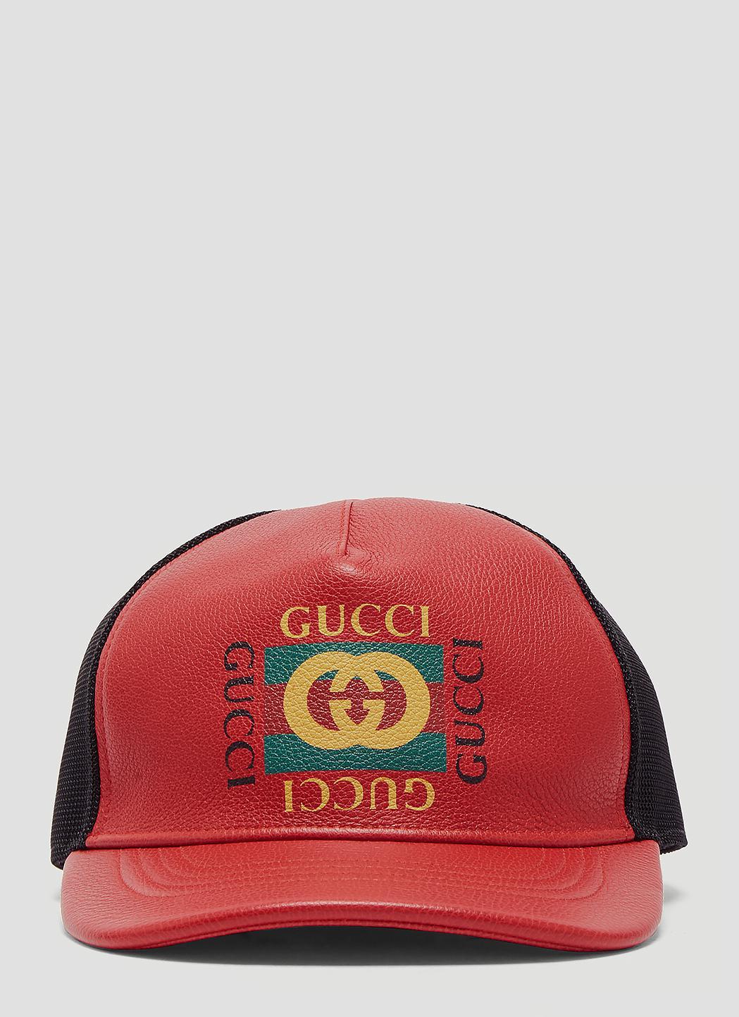 42f81de1 Gucci - Logo Print Leather Baseball Hat In Red for Men - Lyst. View  fullscreen