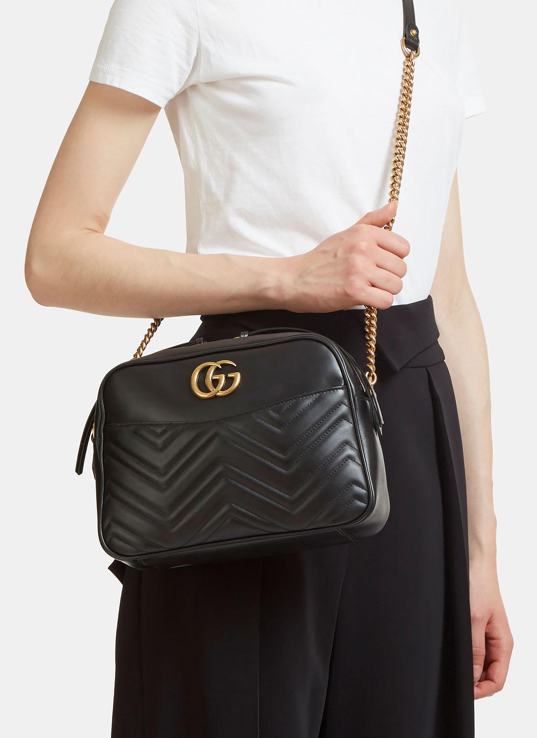 Gucci Leather Gg Marmont Matelass 233 Small Shoulder Bag In