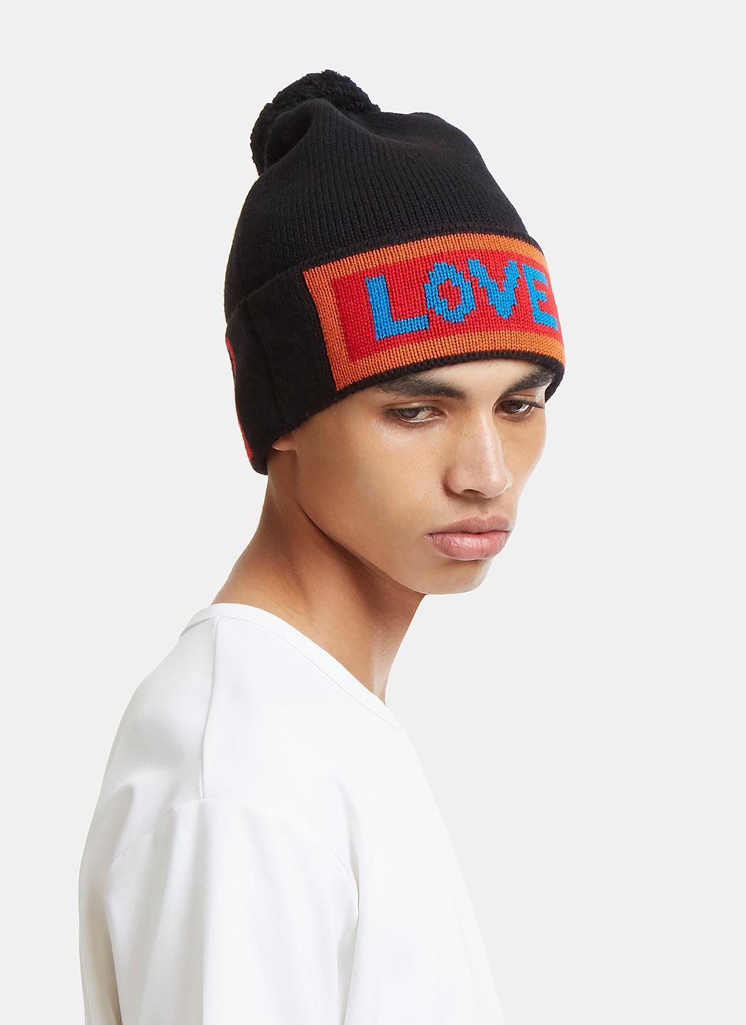 0a10535a28e Lyst - Fendi Love Logo Knit Pom-pom Hat In Black in Black for Men