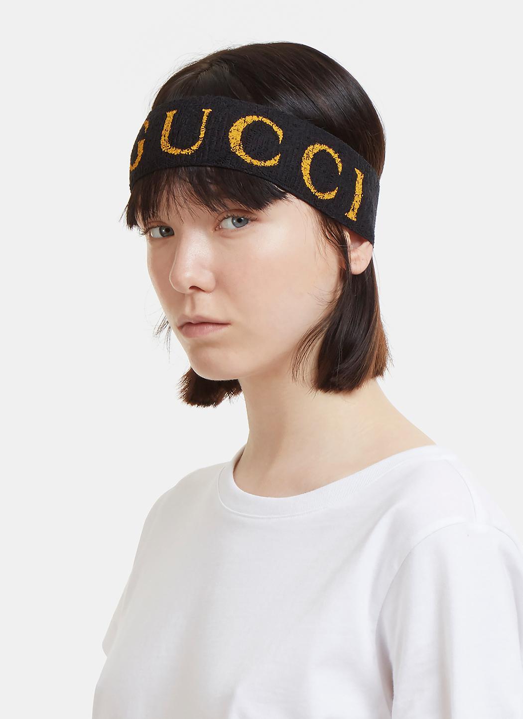 Lyst Gucci Logo Head Band In Black In Black
