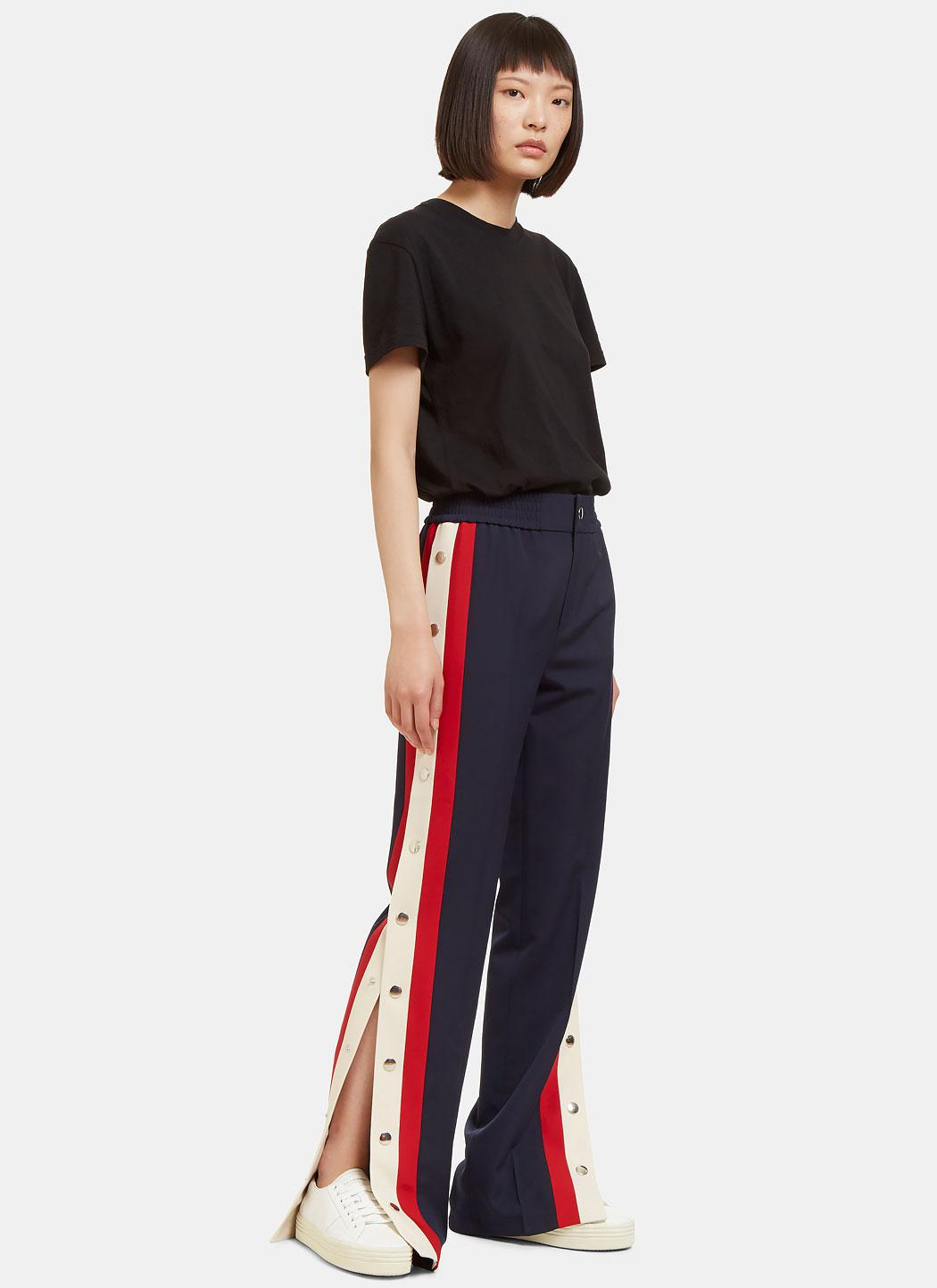 lyst gucci women 39 s striped wool silk jogging pant in navy in blue. Black Bedroom Furniture Sets. Home Design Ideas