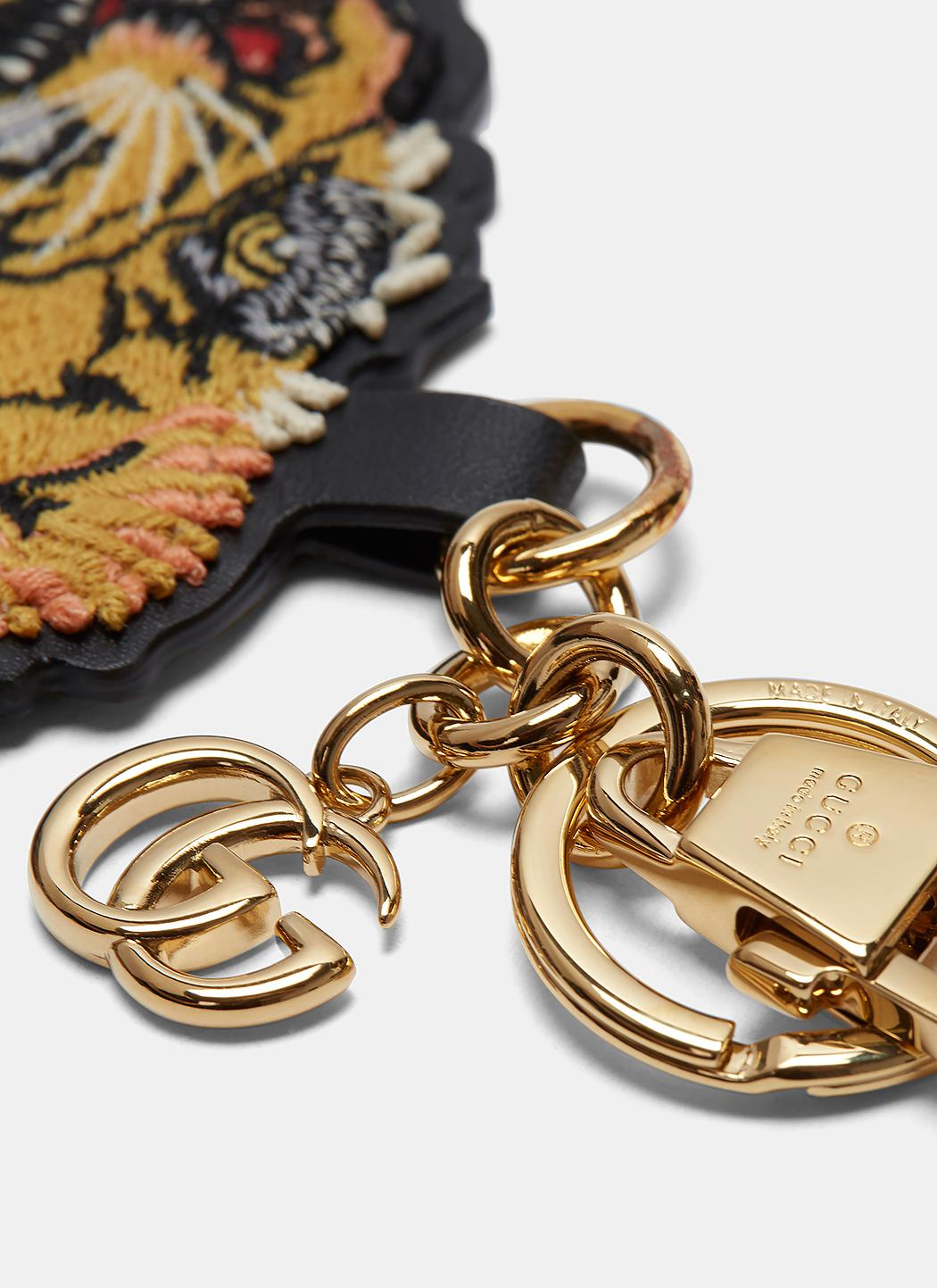 58e62a038fa Lyst - Gucci Embroidered Tiger Key Chain In Yellow in Metallic