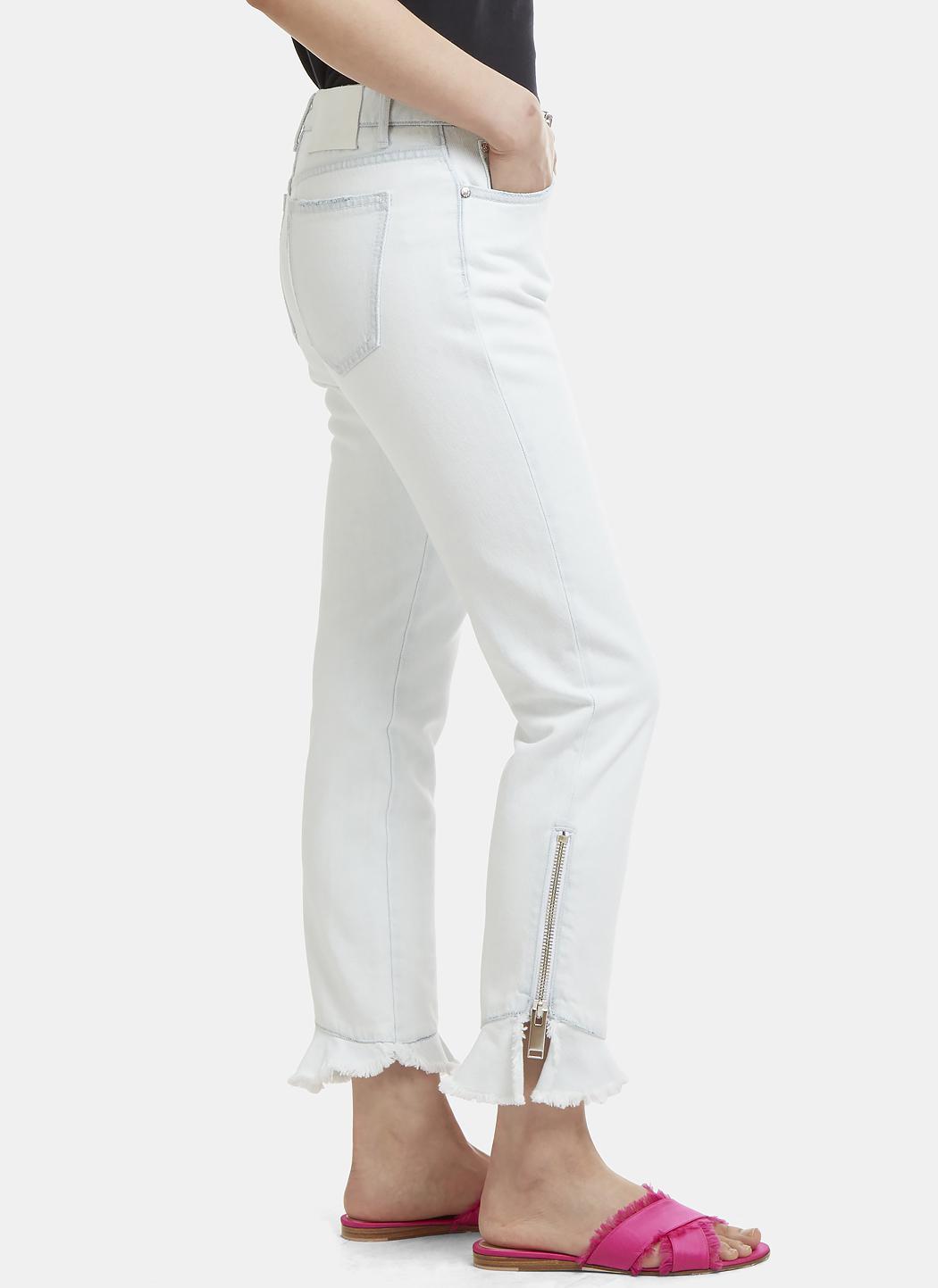 MSGM Denim Raw Ruffle Trim Washed Jeans In Blue
