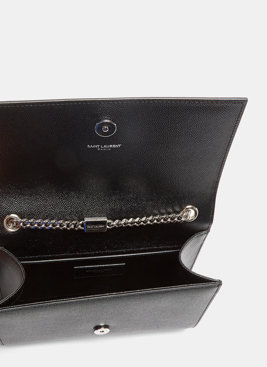 481af8dfe7 Saint Laurent Small Kate Grain De Poudre Chain Bag In Black