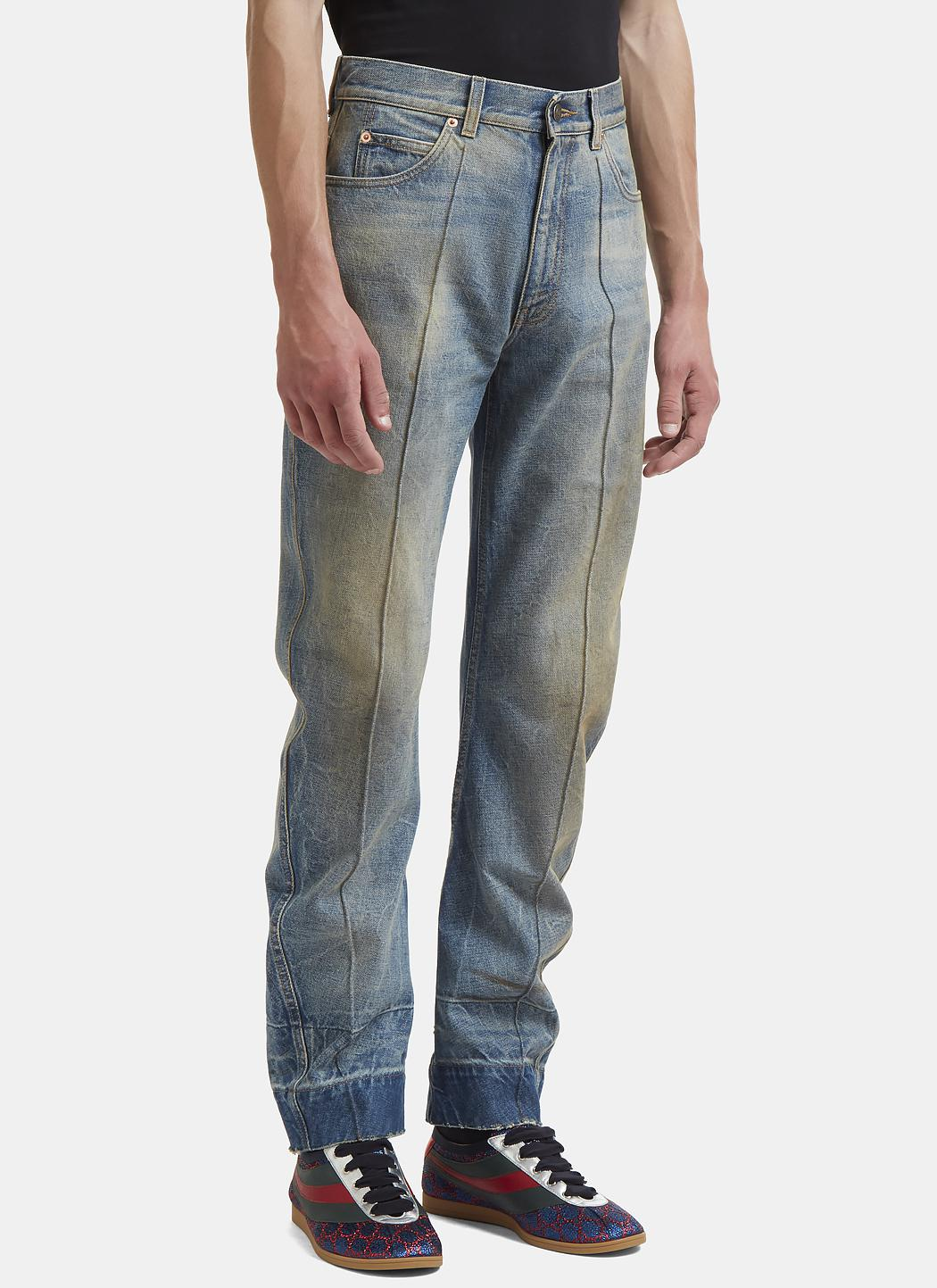 lyst gucci distressed stone washed jeans in blue in blue for men. Black Bedroom Furniture Sets. Home Design Ideas