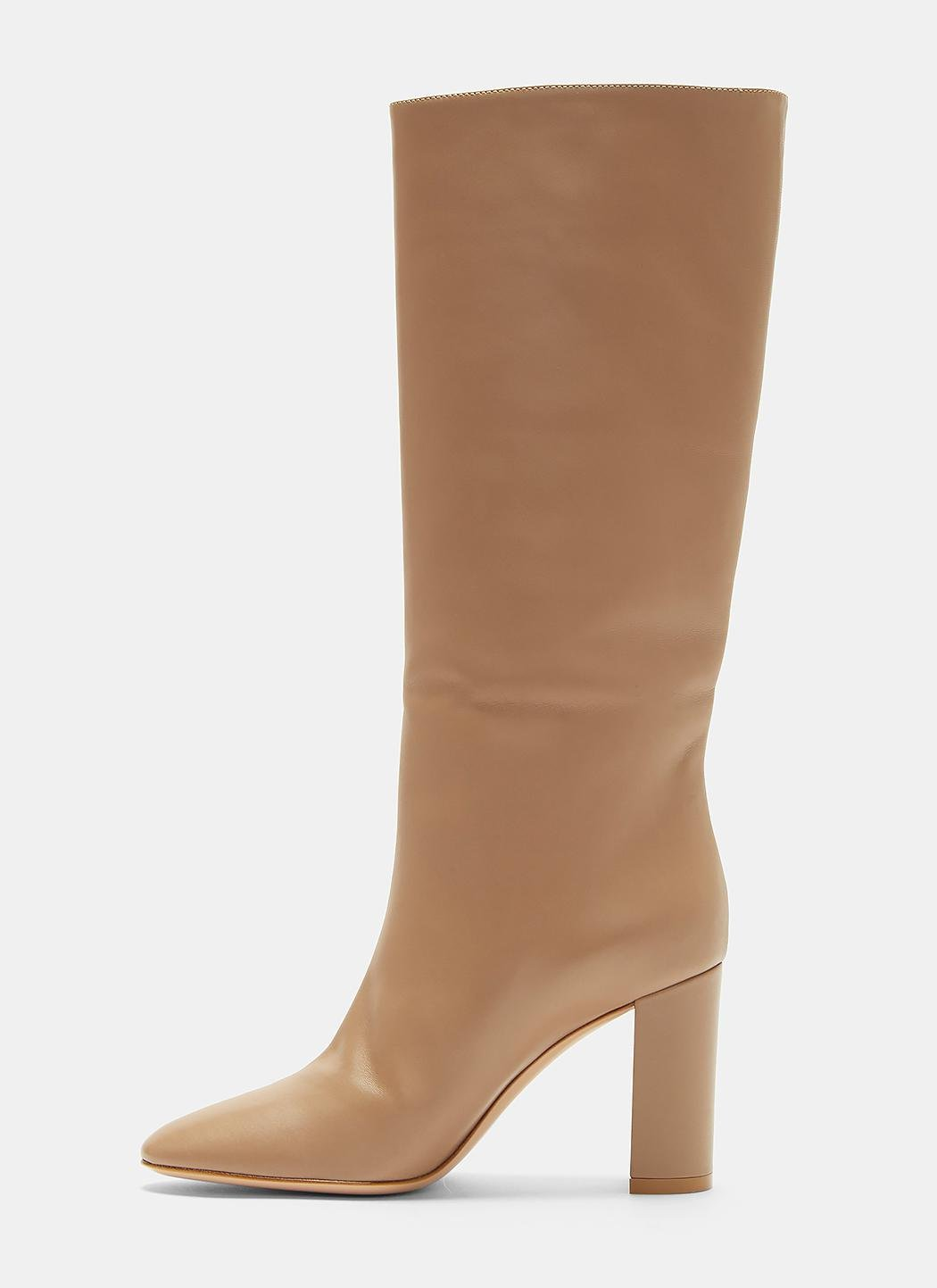 Gianvito Rossi Leather Laura 85 Calf Length Boots In Beige in Natural