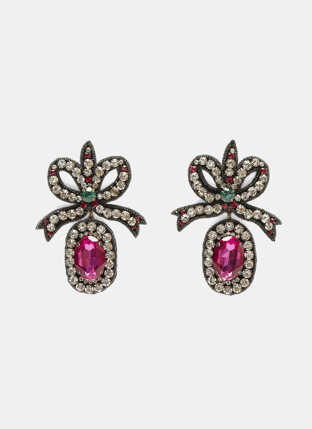 96eef1c60 Gucci Crystal- Embroidered Bow Earrings In Black And Pink in Black ...