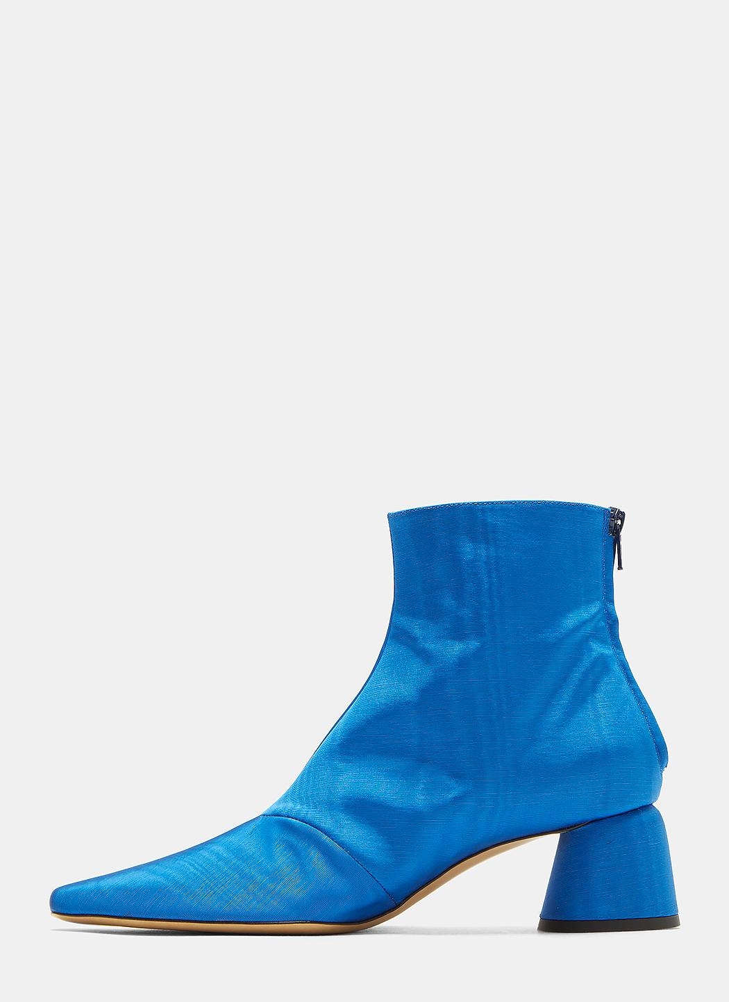 Ellery Leather Moire Pointed Ankle Boots In Blue