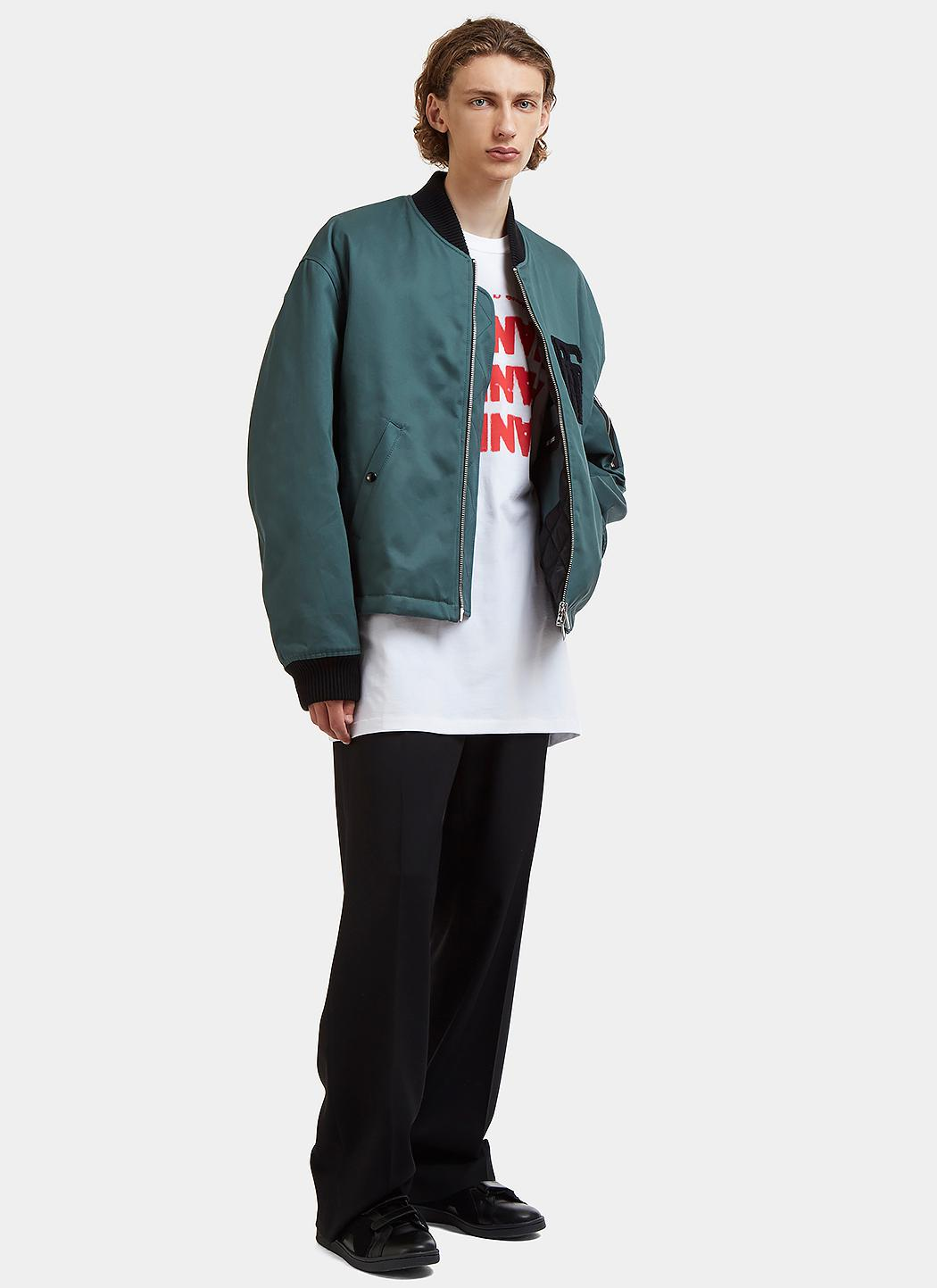 Raf Simons Cotton Oversized Fleeced Rs Patch Bomber Jacket In Green for Men