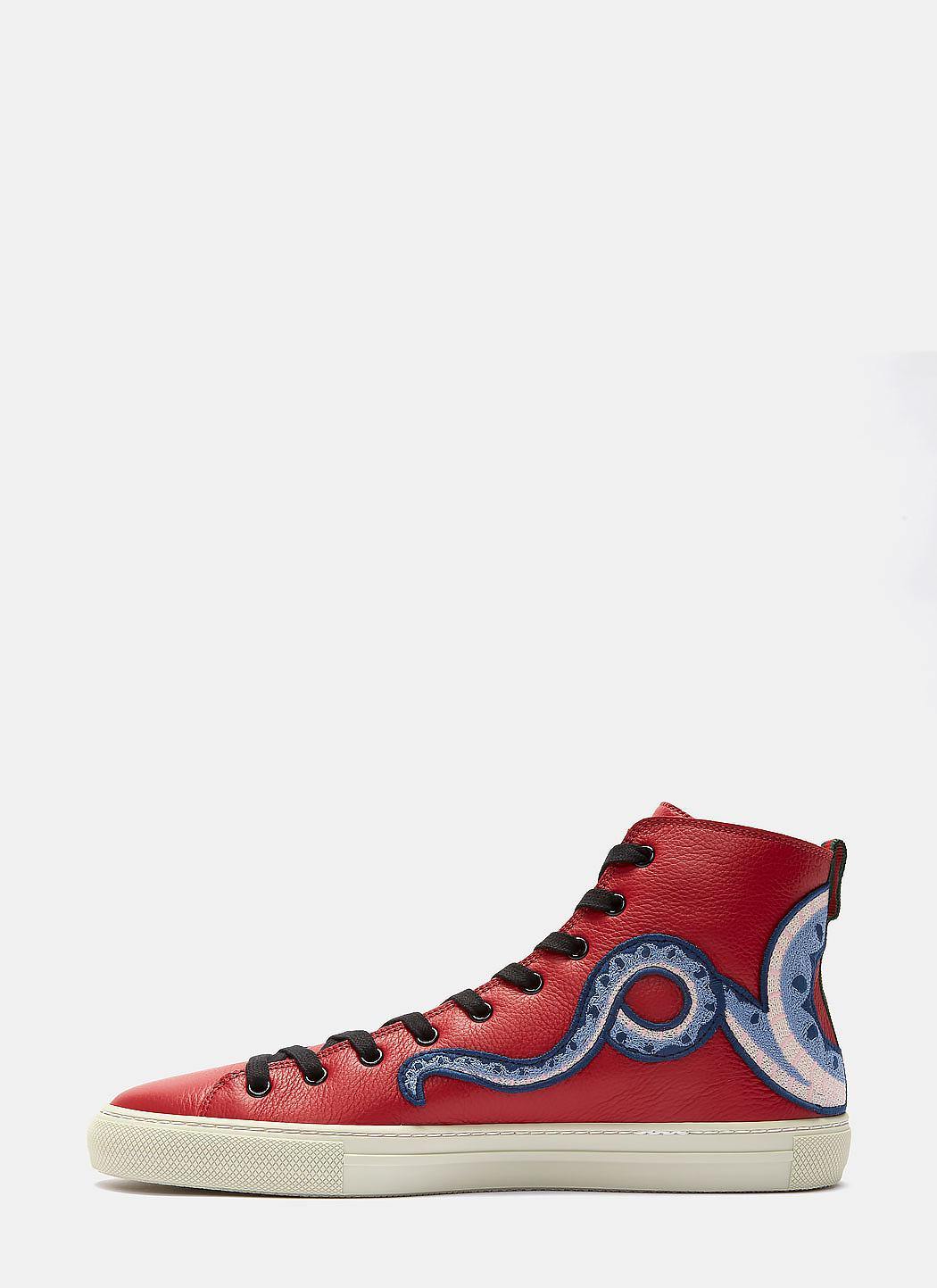 8bfbc9bb Men's Dragon Embroidered High-top Sneakers In Red
