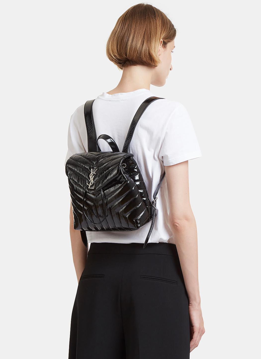 40d7574cfe Saint Laurent Small Lou Monogram Matelassé Patent Backpack In Black