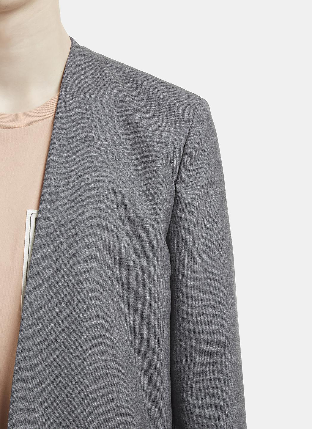 Maison Margiela Wool Collarless Blazer Jacket In Grey in Grey for Men