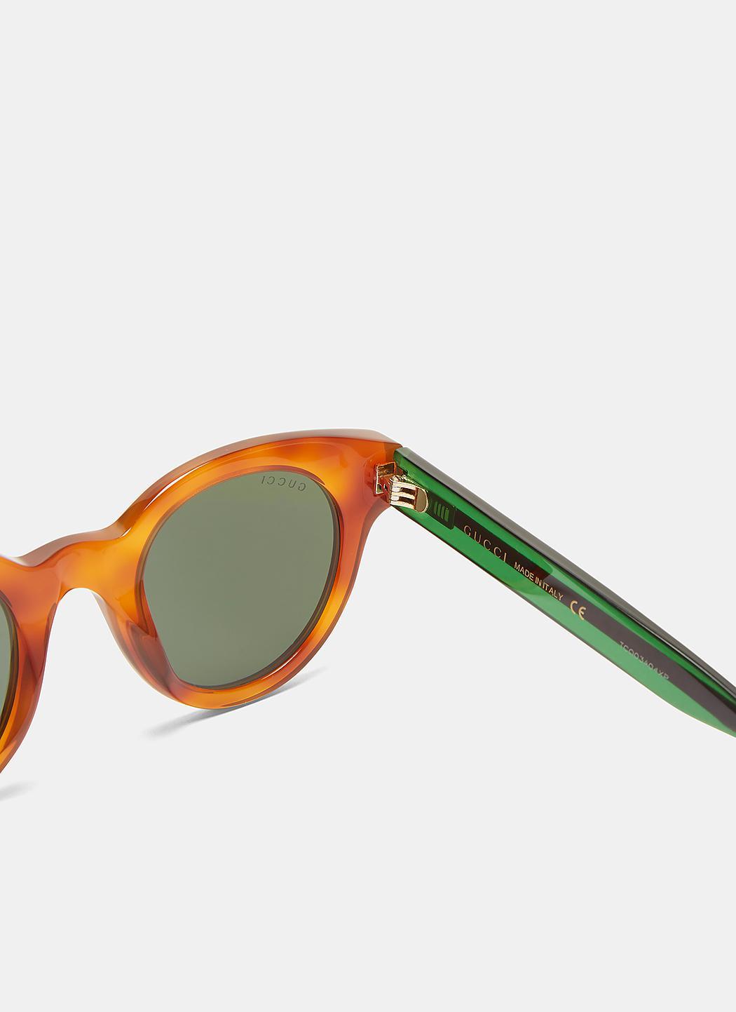 1a42ef2a9ec68 Gucci Men s Tortoiseshell Striped Arm Round Sunglasses In Brown ...