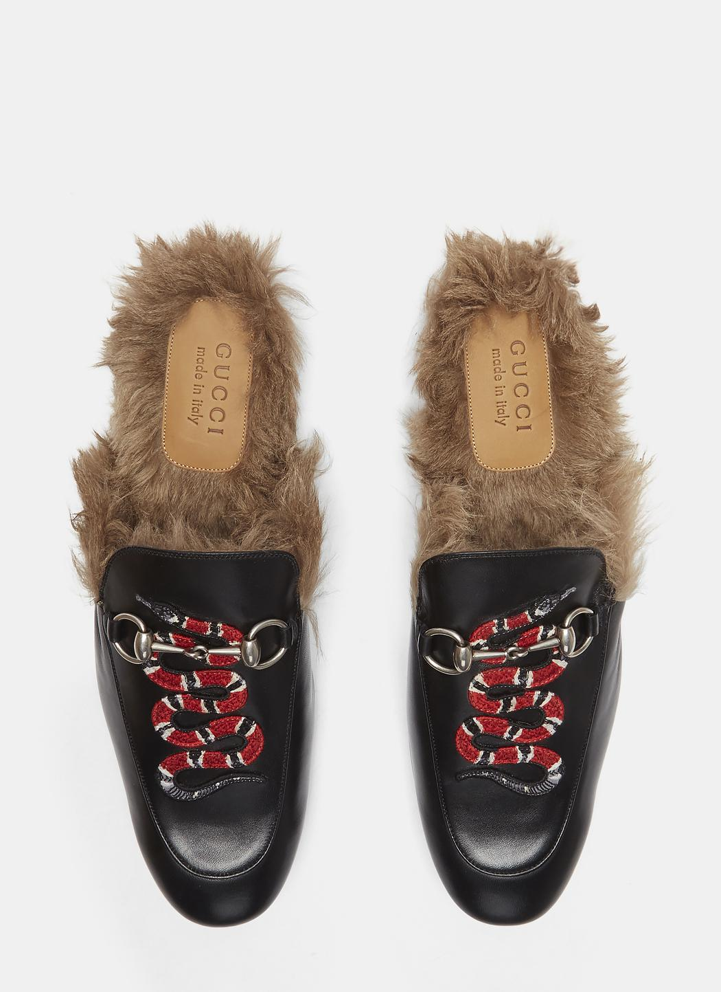 afe3c0e8369 Lyst - Gucci Princetown Kingsnake Slipper Shoes In Black in Black ...