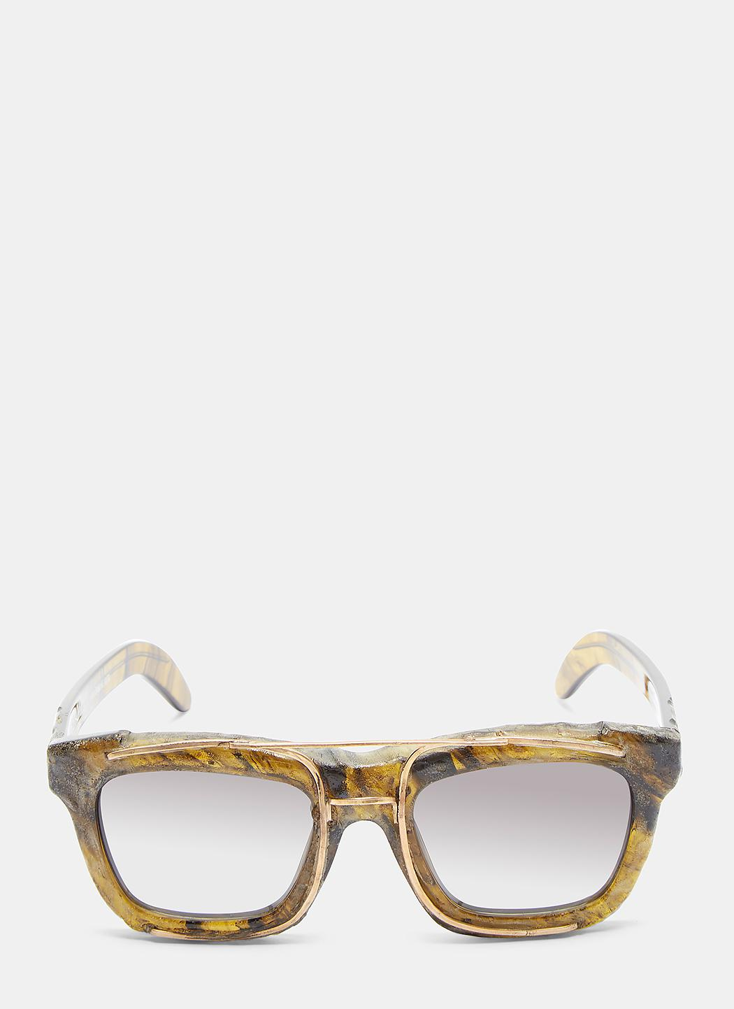 Kuboraum Lumiere Mask C2 Chiselled Sunglasses In Khaki in Natural for Men