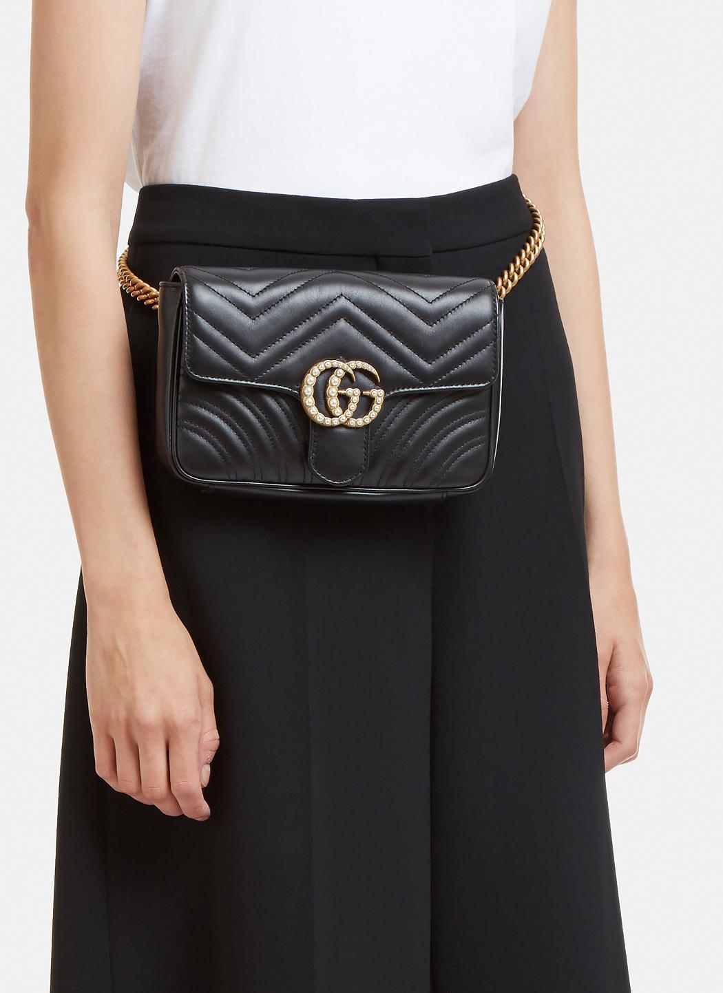4c24203e876 Lyst - Gucci Marmont 2.0 Gg Pearl Bag In Black in Black