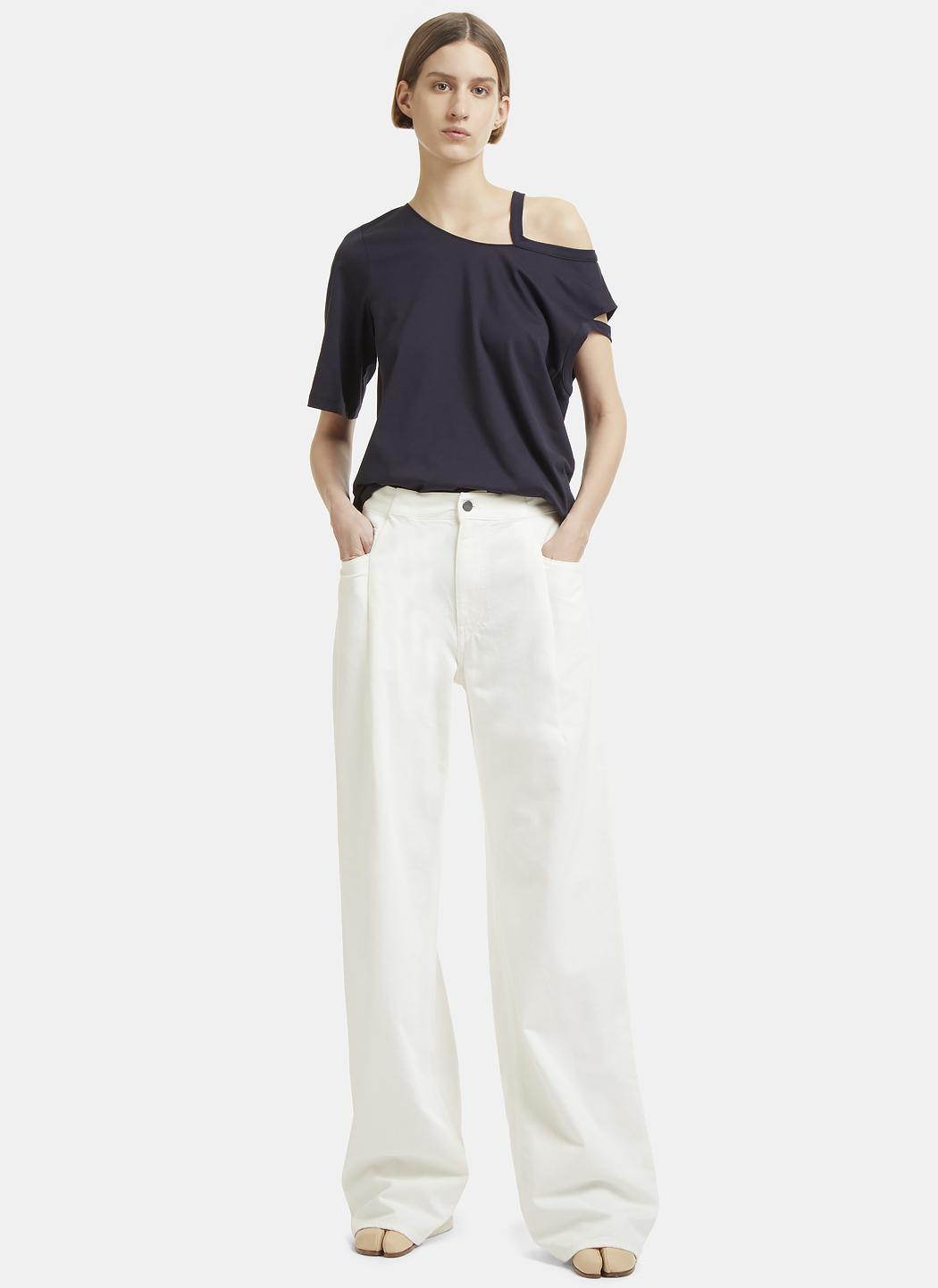 Maison Margiela Denim Pleated Flared Jeans in White