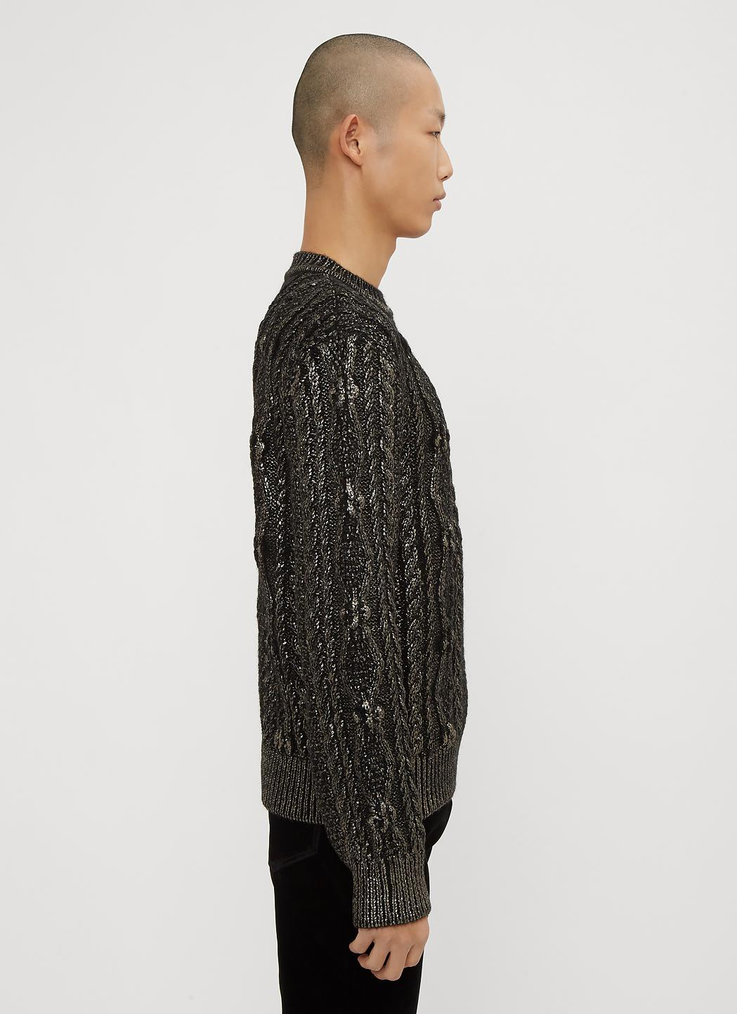 Saint Laurent Wool Lamé Aran Knit Sweater In Black for Men ...