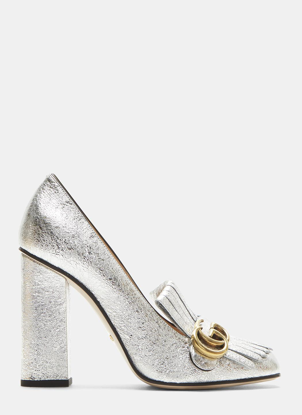 417302805a9 Lyst - Gucci GG High-heel Fringed Marmont Pumps In Silver in Metallic